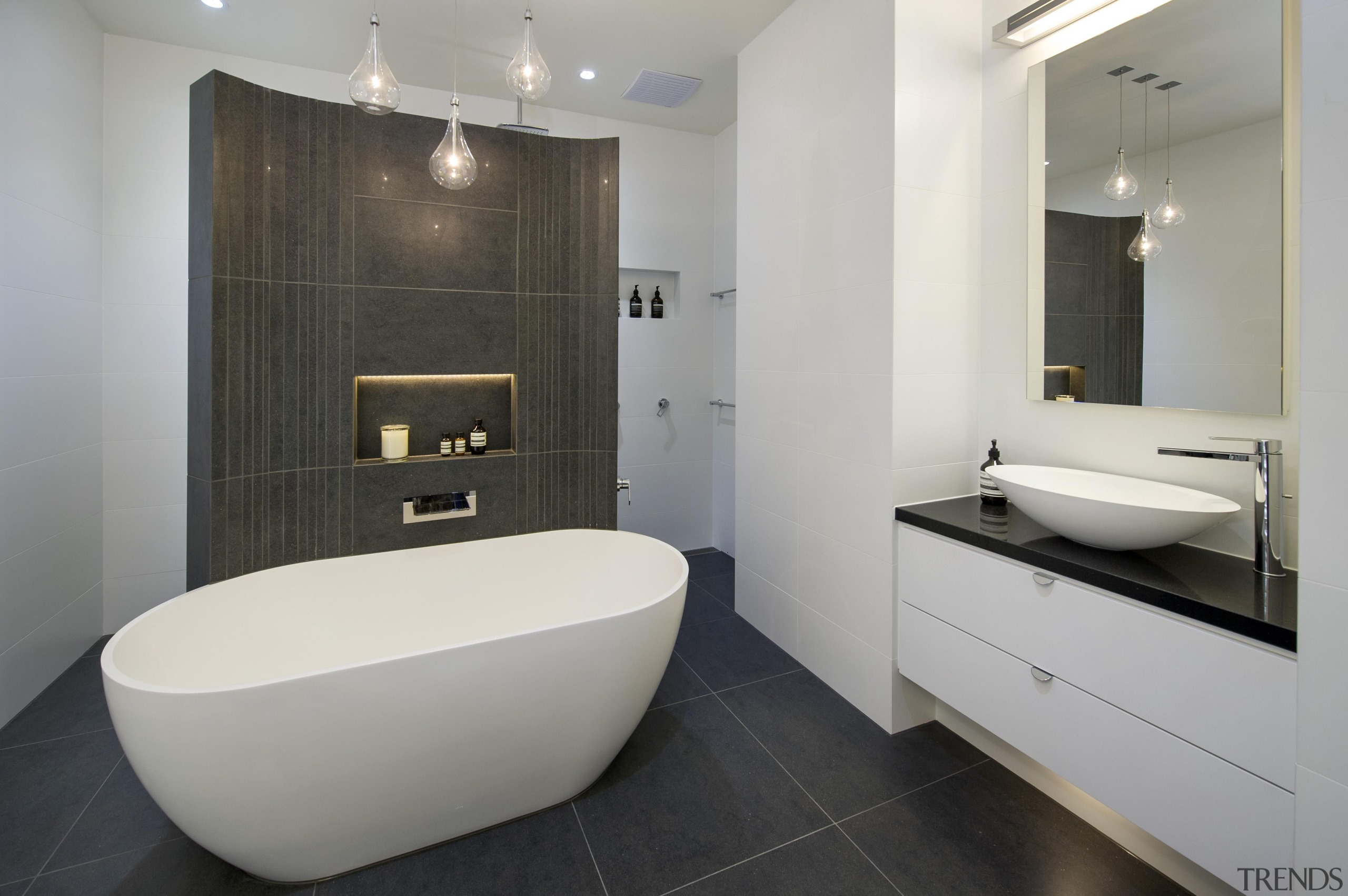 Bubbles Bathrooms - Winner of Housing Industry Association architecture, bathroom, bathroom accessory, floor, interior design, product design, property, real estate, room, tile, gray, black