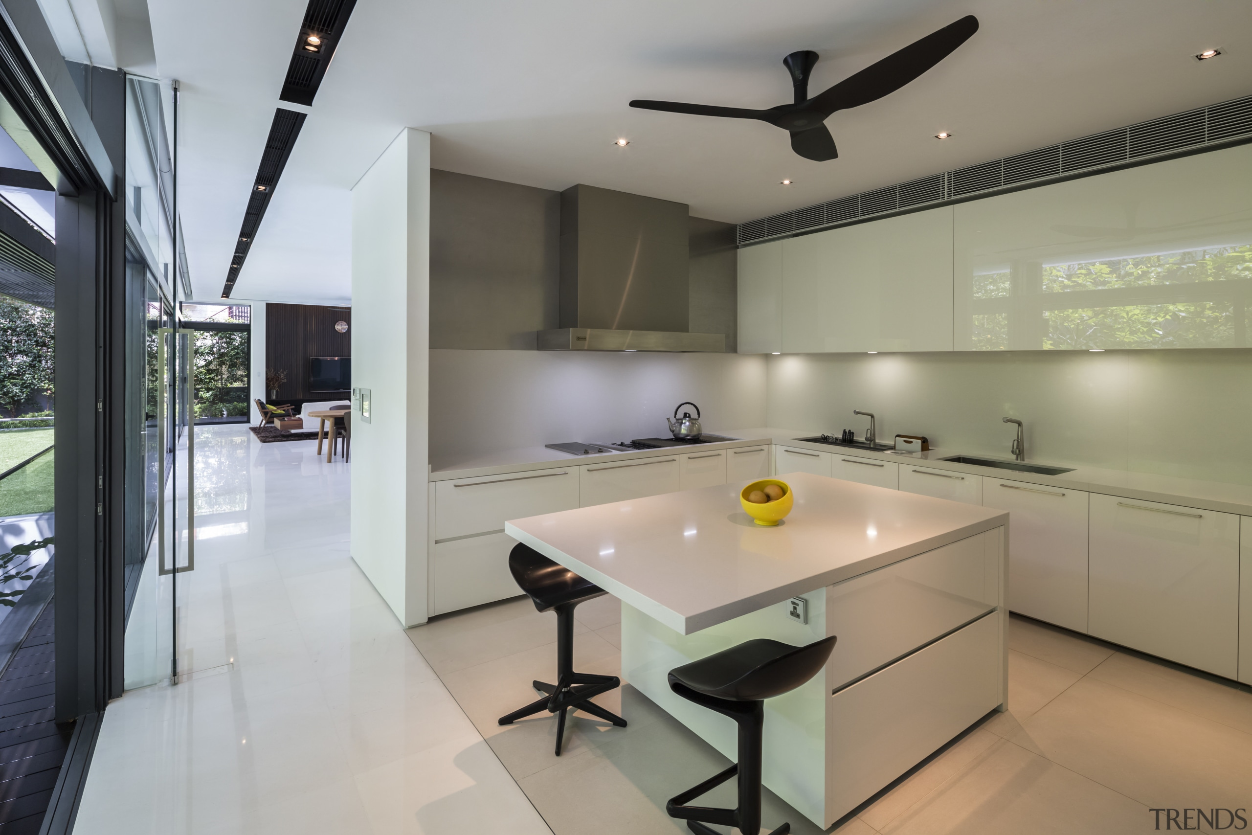 Tucked behind the dry kitchen in this home architecture, countertop, interior design, kitchen, real estate, room, gray