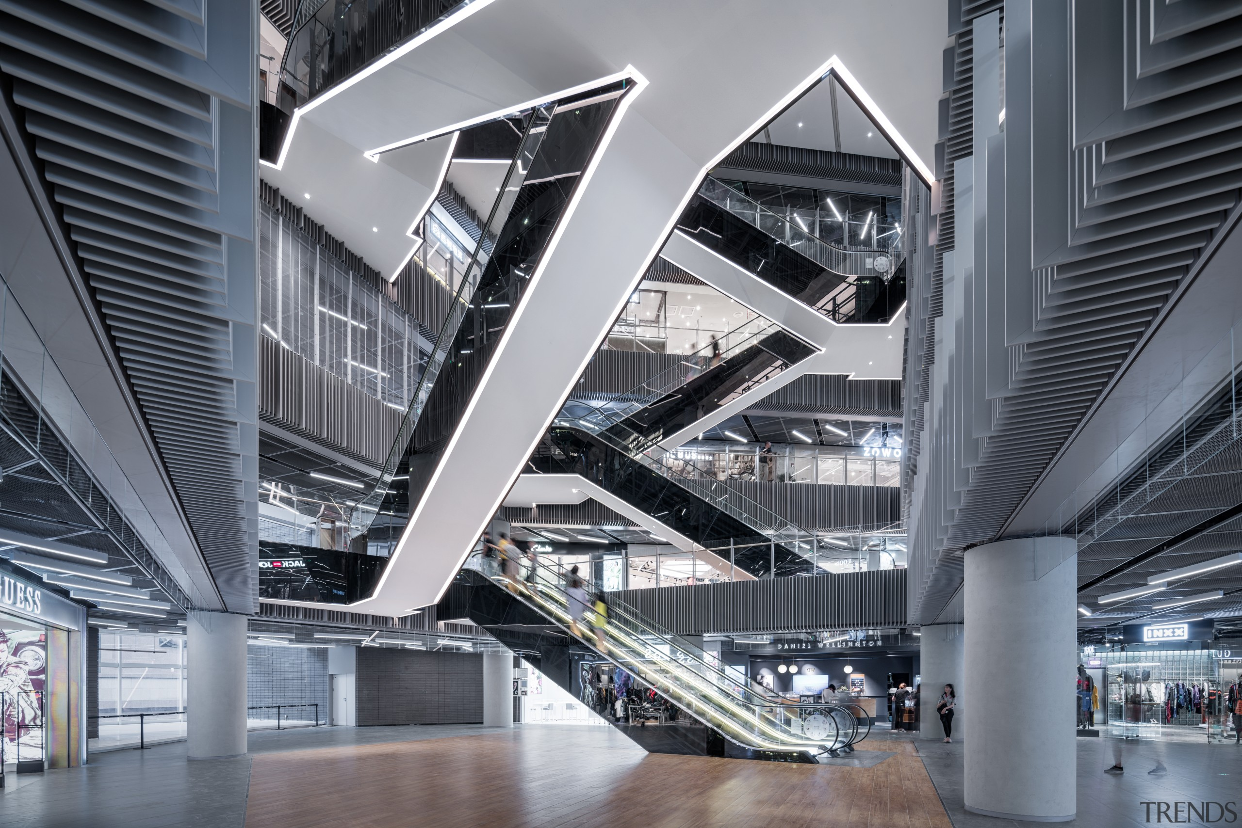 Scissor stairs slice through Shimao Festival City mall's architecture, building, scissor stairs,  Shimao Festival City,  Mall, plaza