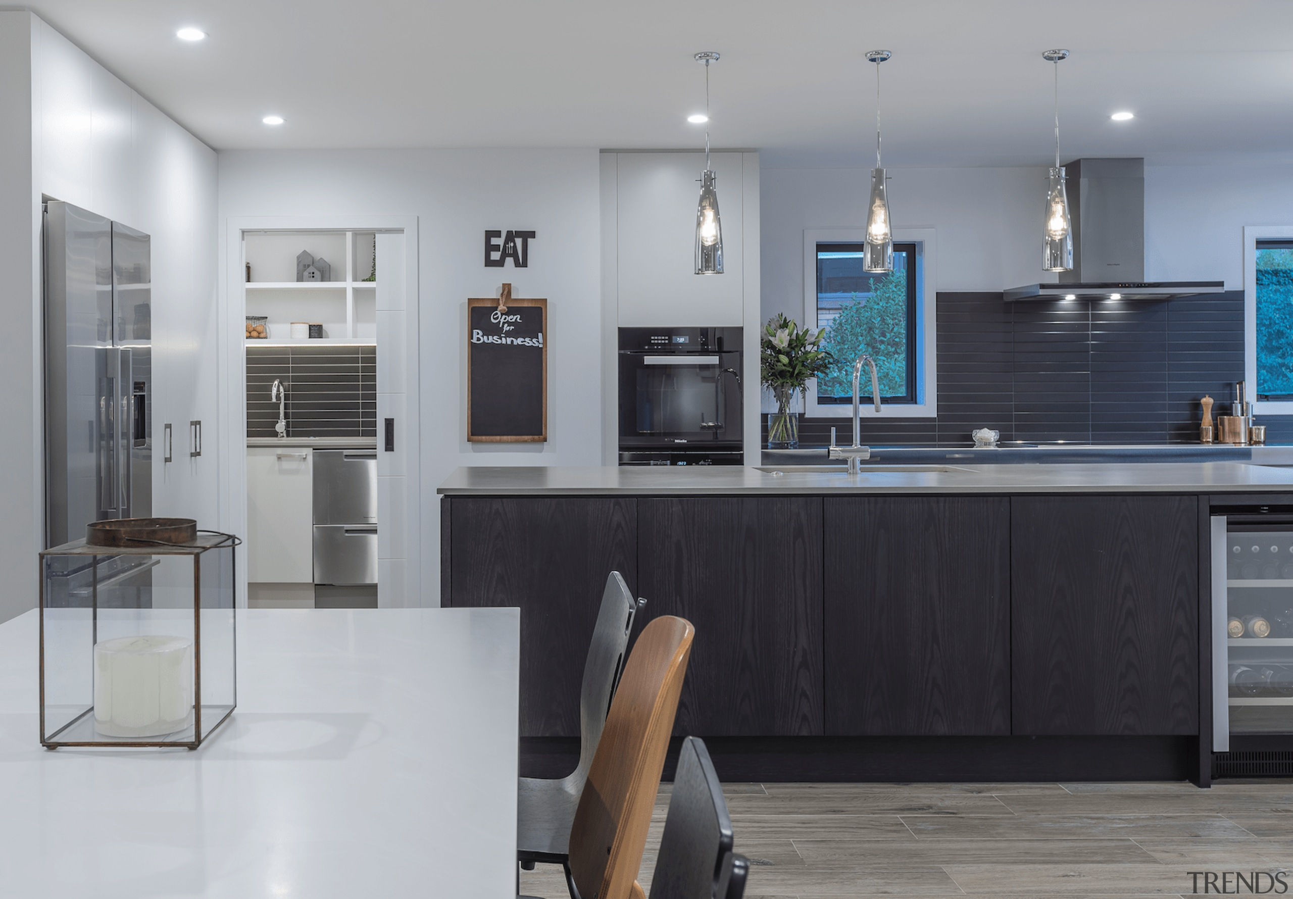 See more countertop, cuisine classique, home appliance, interior design, kitchen, room, gray, black