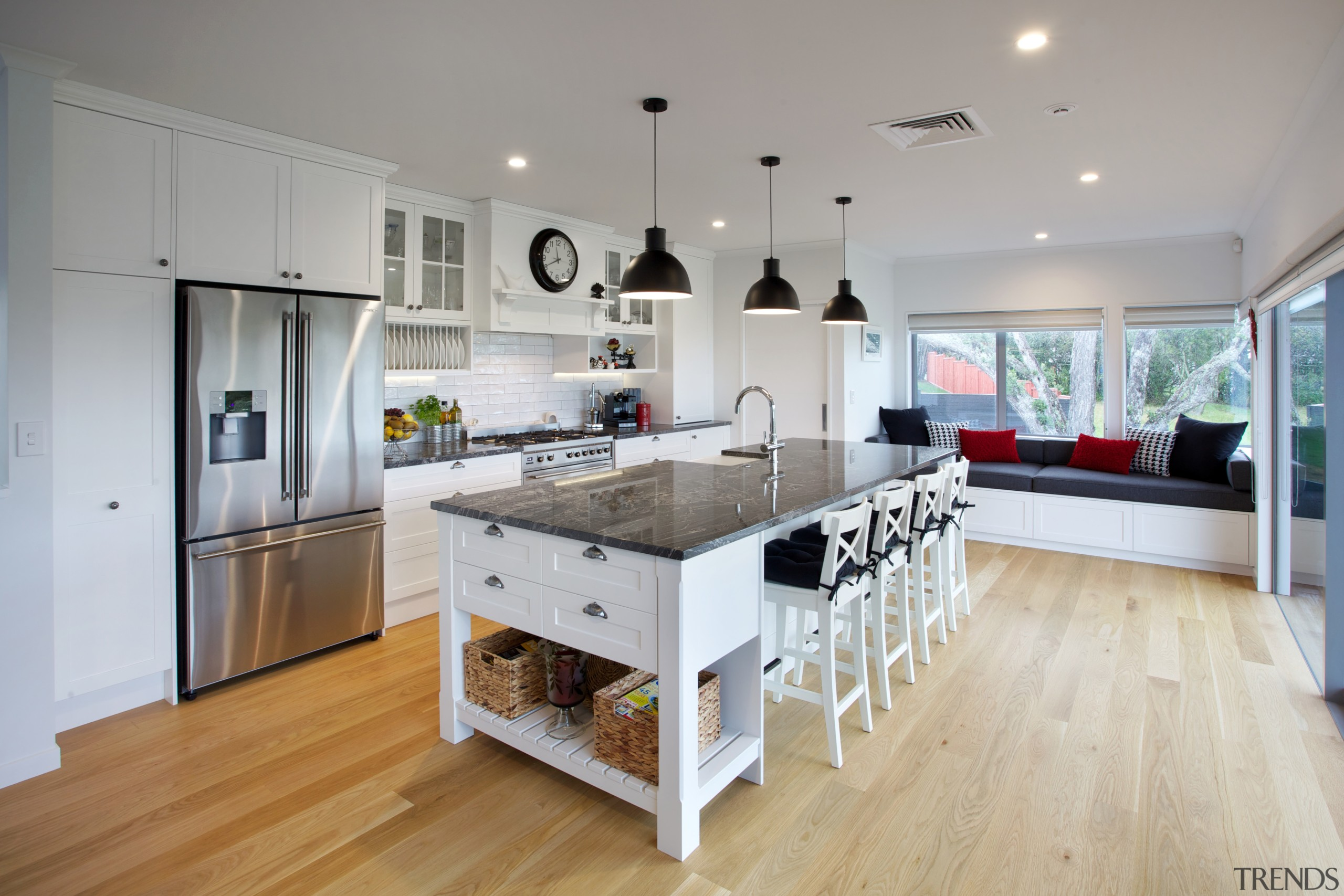This kitchen design integrates with the wider space countertop, cuisine classique, floor, interior design, kitchen, real estate, room, gray