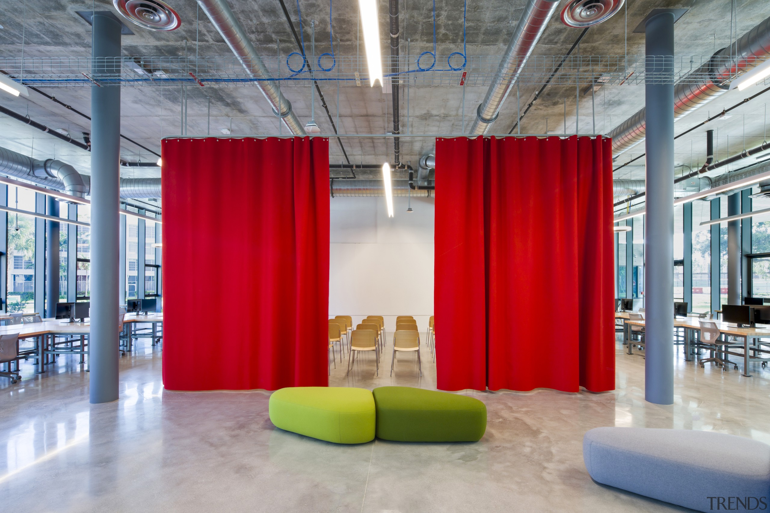 Curtains in the Thomas P Murphy Design Studio architecture, building, commercial building, design, floor, flooring, furniture, interior design, lobby, office, room, wall, University, archtecture studio