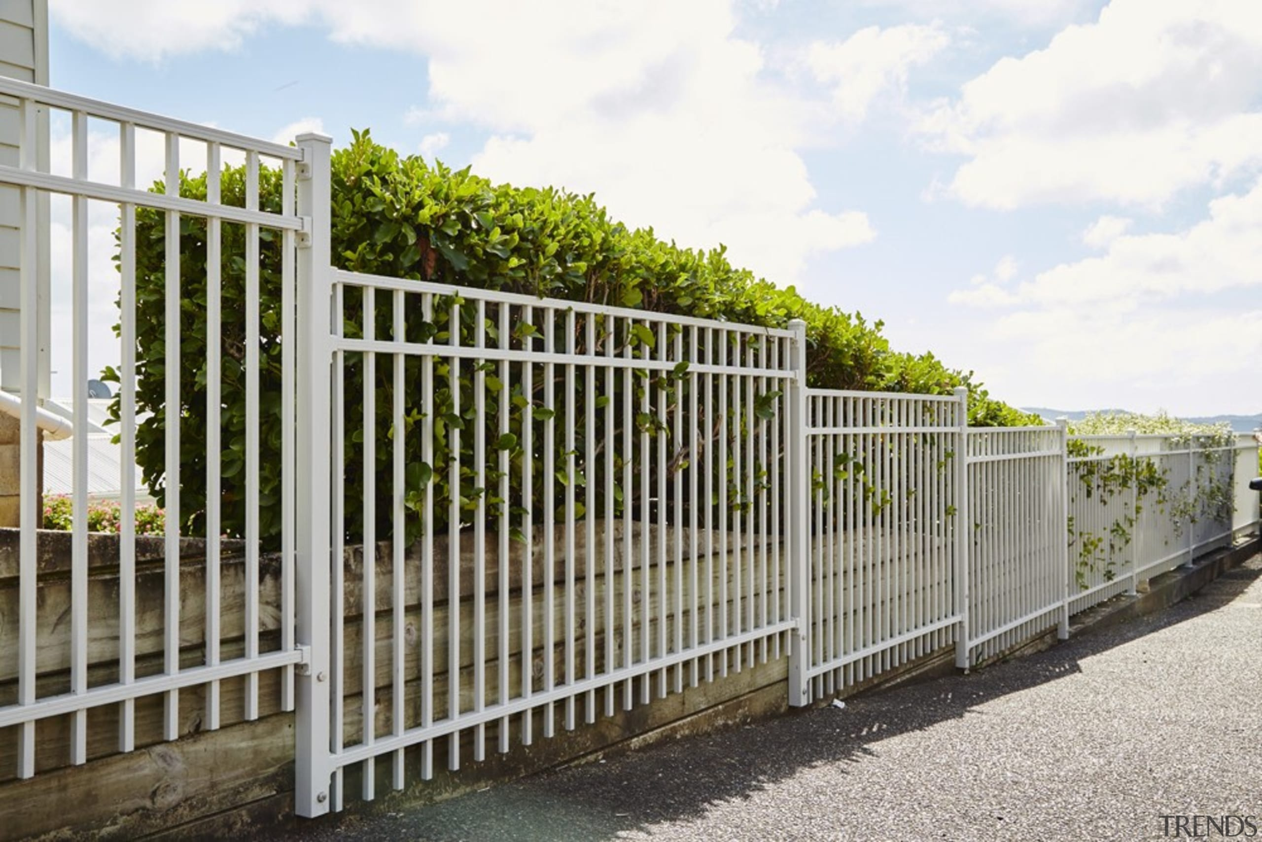 The owner of this home chose HomePlus Contemporary fence, gate, guard rail, handrail, home fencing, iron, outdoor structure, picket fence, residential area, white