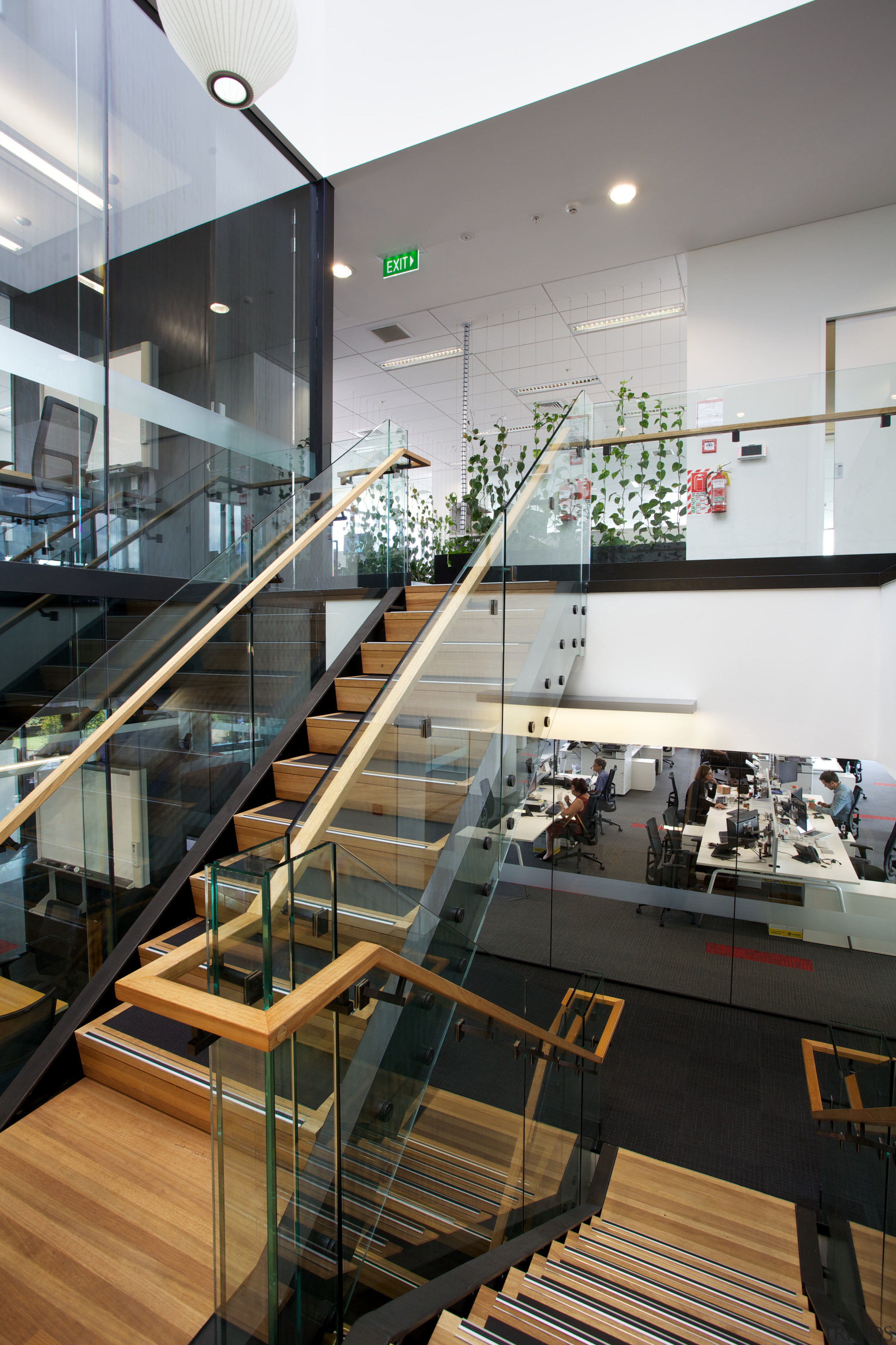 Natural materials feature extensively throughout the new Ricoh architecture, glass, handrail, interior design, stairs, black, white