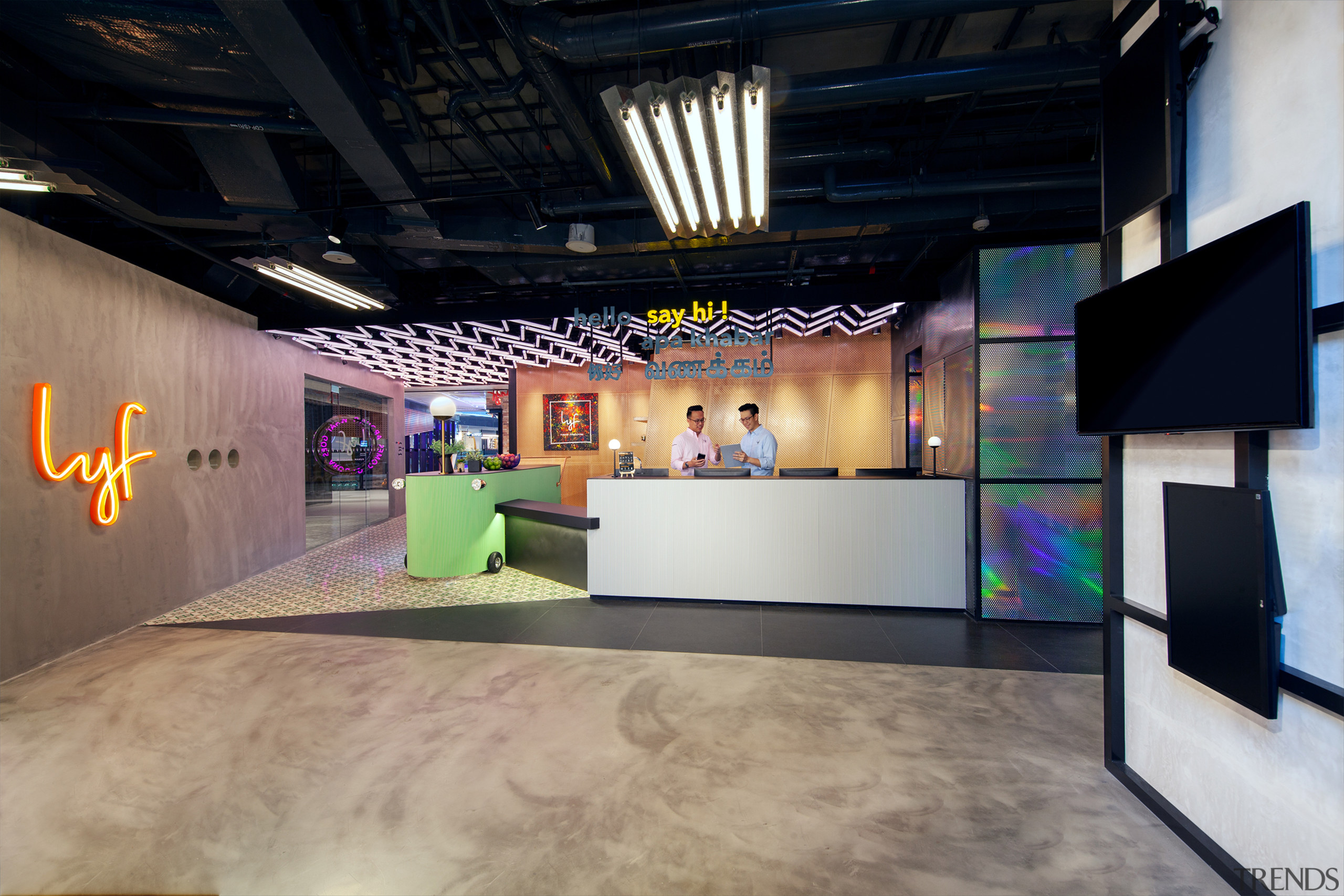 Reception at lyf Funan Singapore is open and architecture, art, art gallery, building, ceiling, design, interior design, lobby, loft, room, tourist attraction, visual arts, black, gray