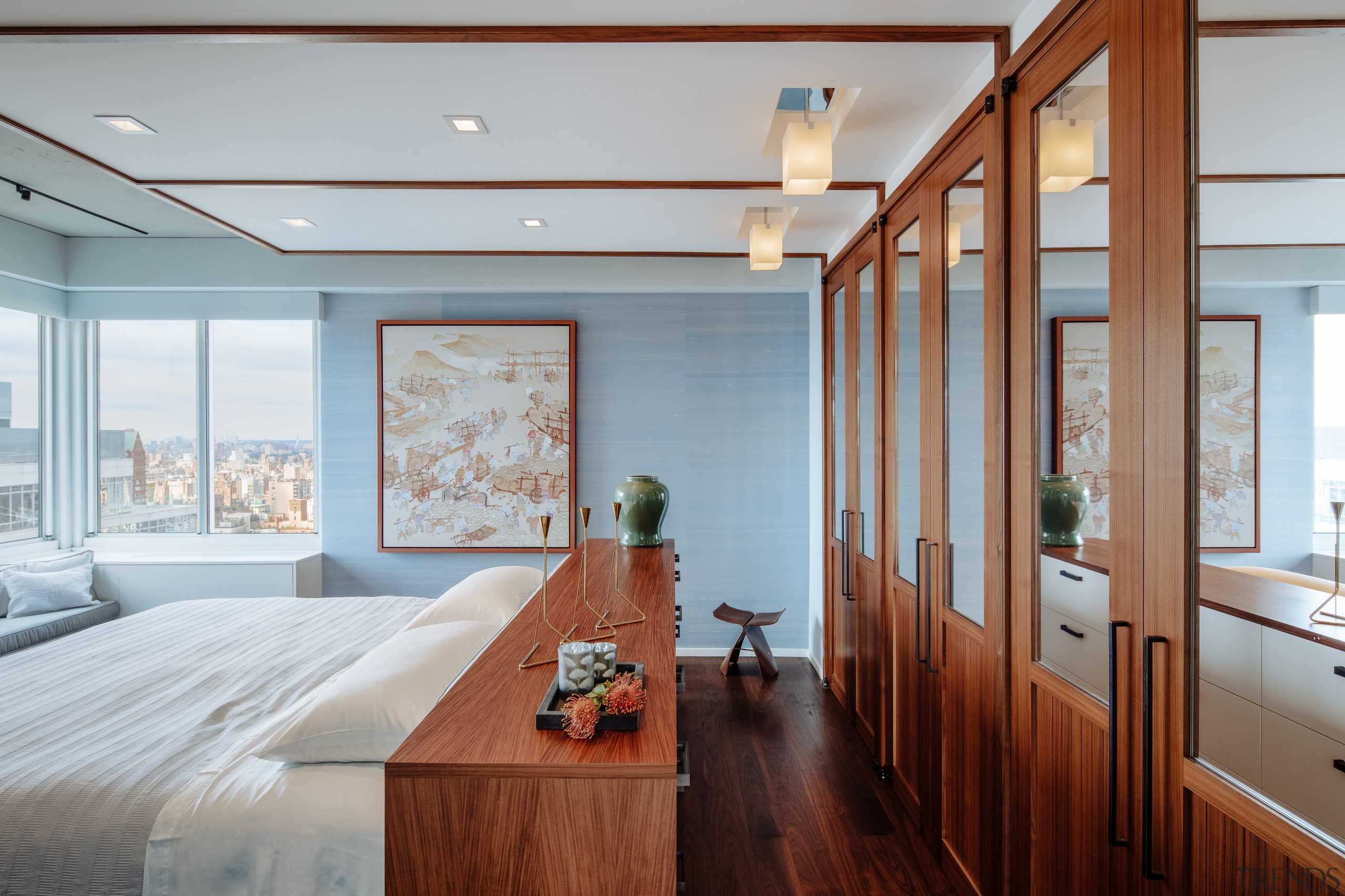 A major fault of this apartment's existing layout architecture, bedroom, design, glass doors, floor, flooring, furniture, hardwood, home, penthouse, interior design, Andrew Wilkinson