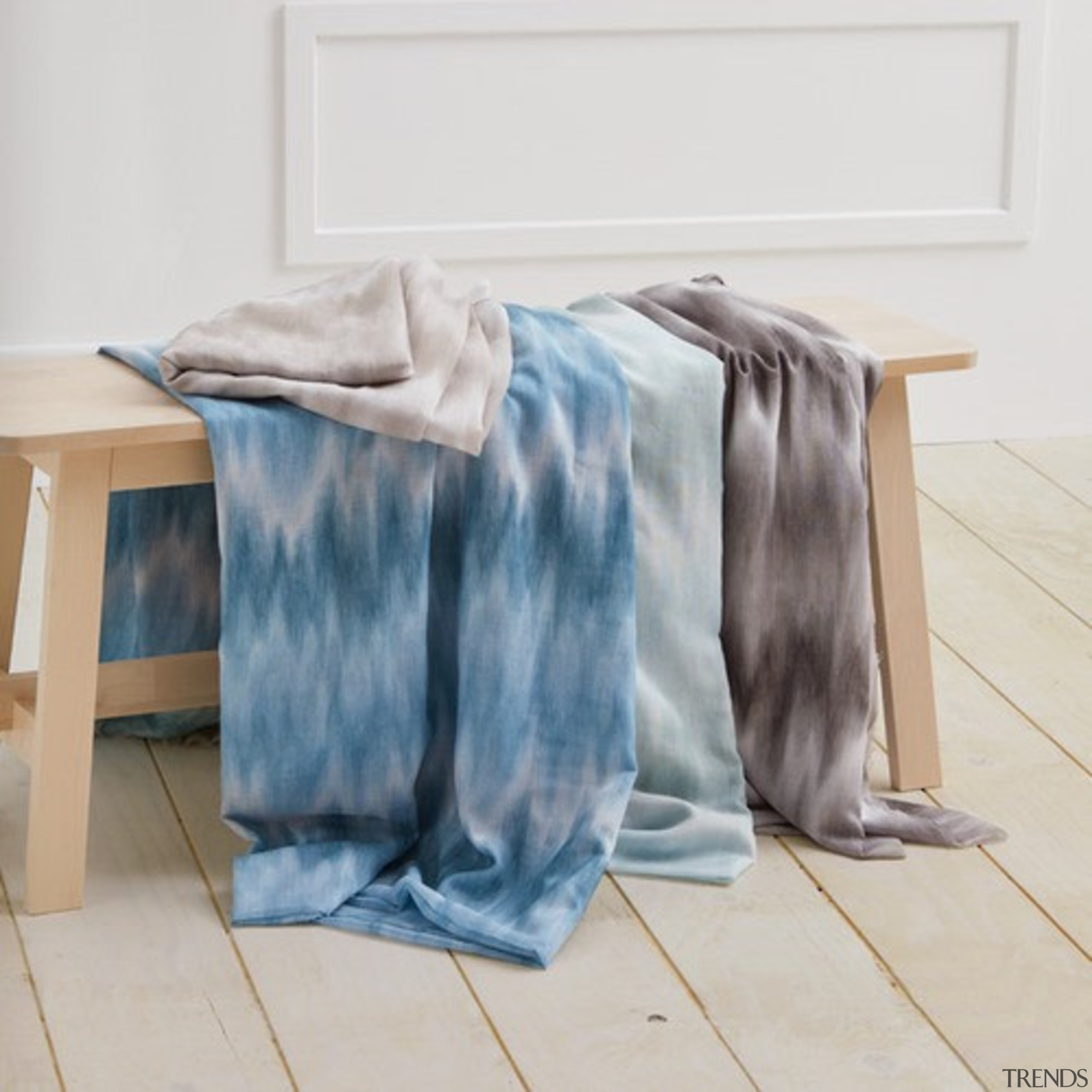 Serene and timeless, COAST combines a stylish ombre furniture, linens, material, textile, white