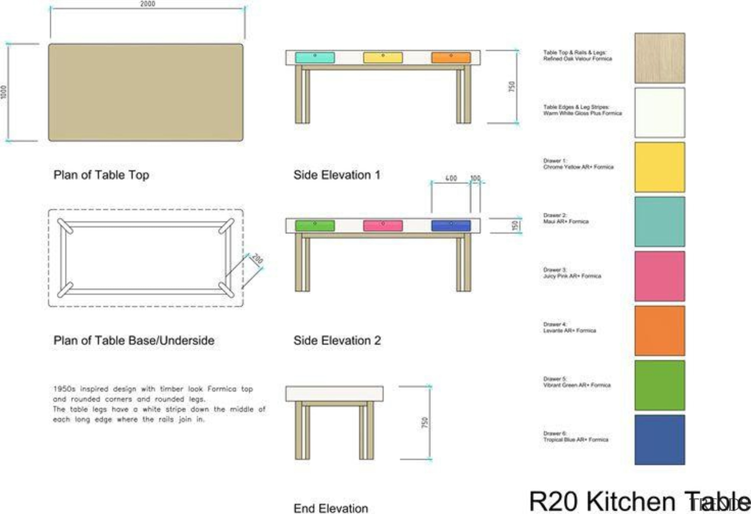 by Rachel Venables - R20 Kitchen Table - angle, area, design, diagram, font, furniture, line, product, product design, rectangle, square, text, white