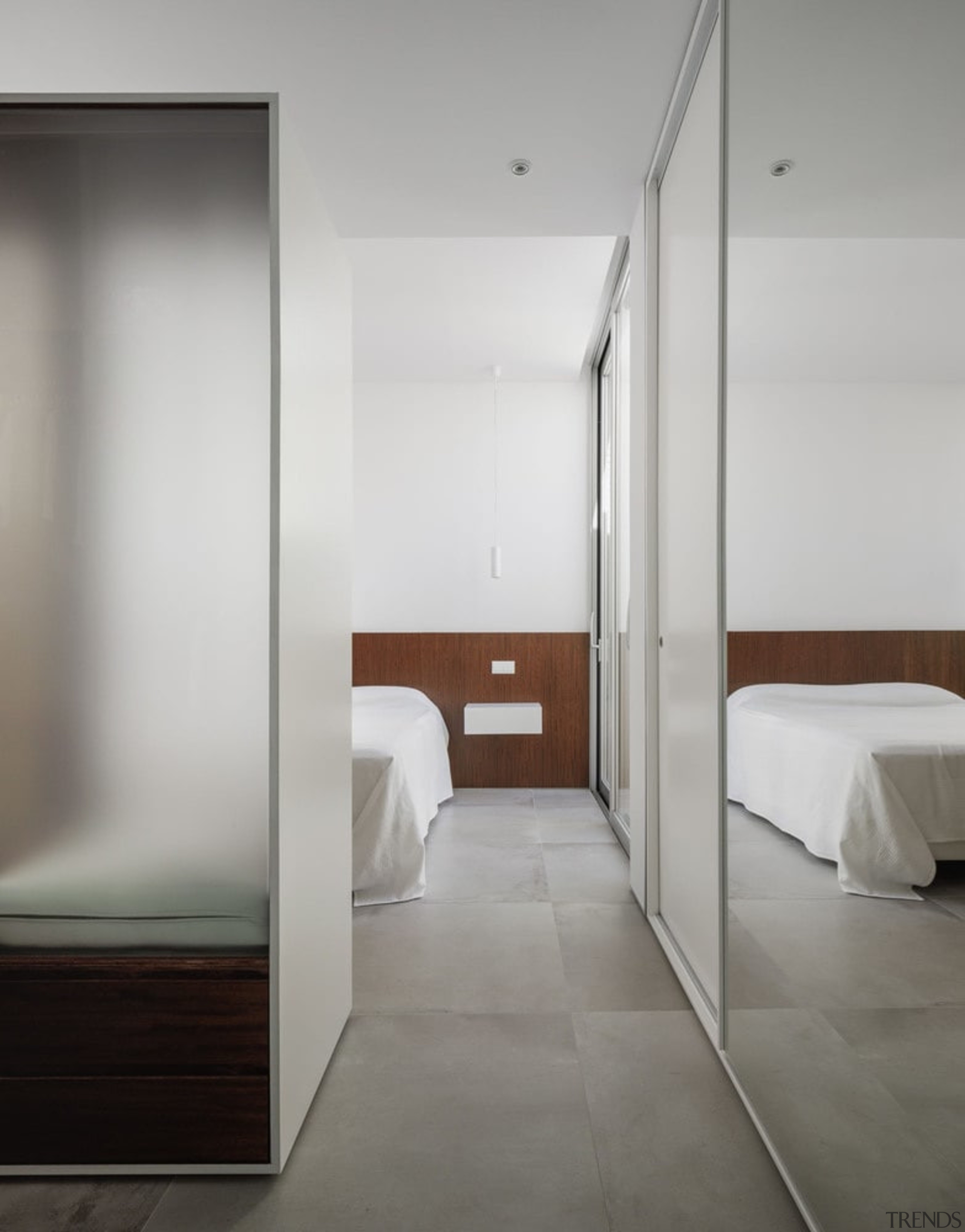 Large translucent screens ensure privacy without sacrificing light architecture, ceiling, floor, interior design, room, gray