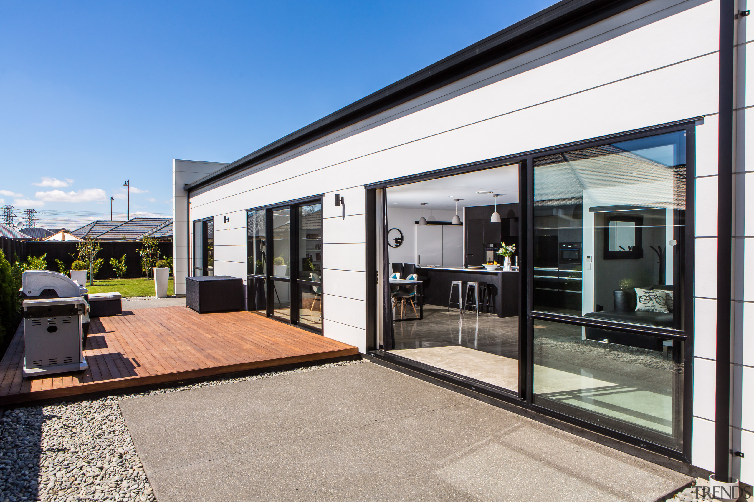 The use of prefabricated technologies can speed up architecture, door, house, real estate, window, gray