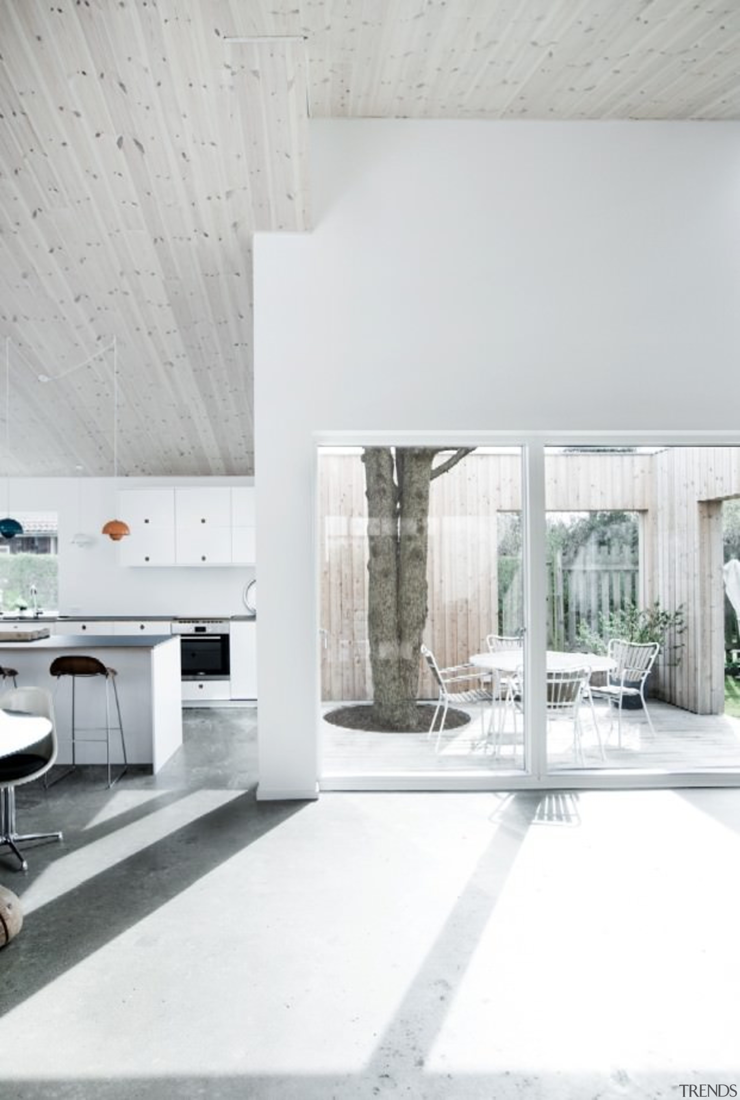 Architect: Sigured LarsenPhotography by Tia Borgsmidt architecture, floor, flooring, home, house, interior design, living room, table, wall, white
