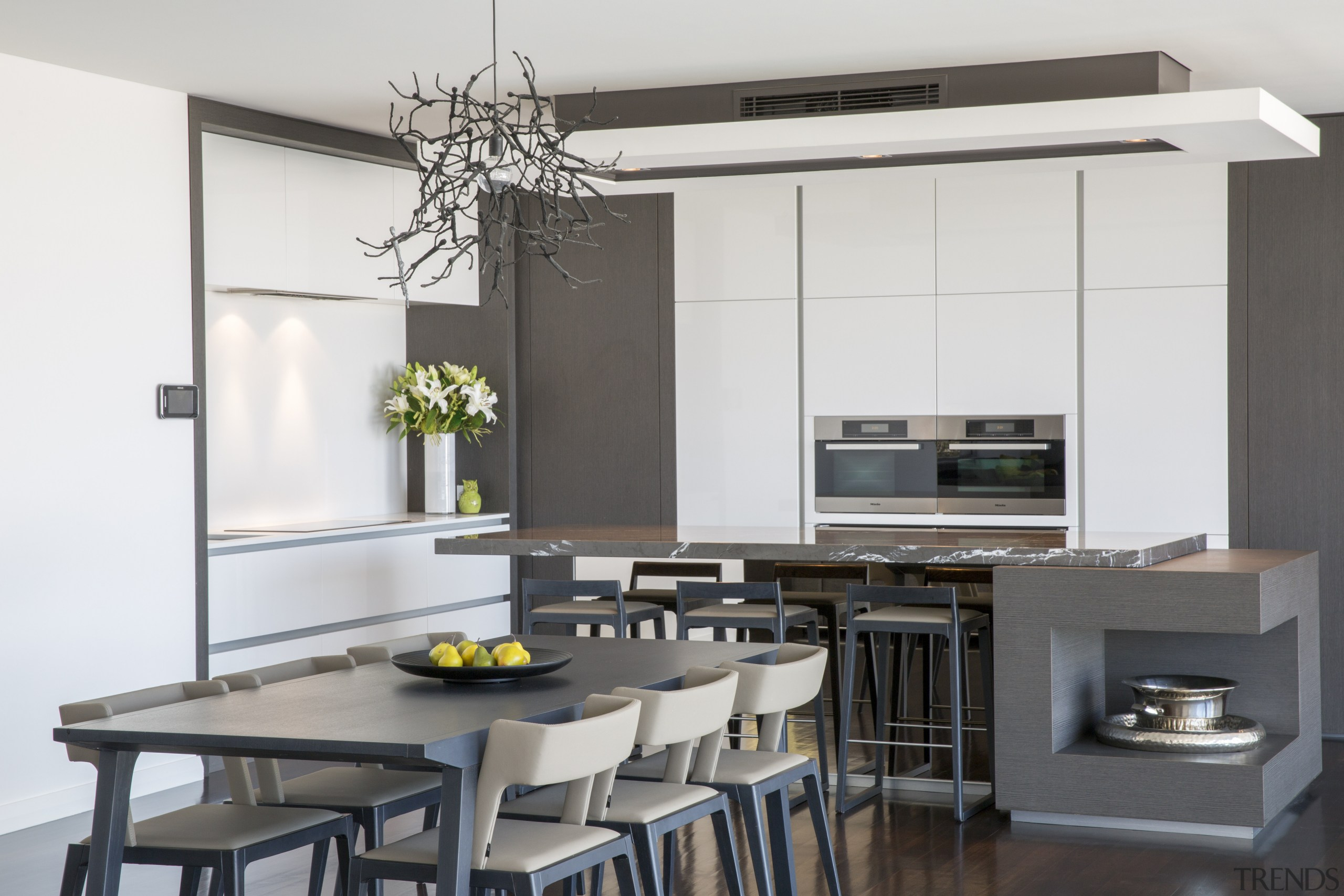 This kitchen in a new house was designed interior design, kitchen, table, white