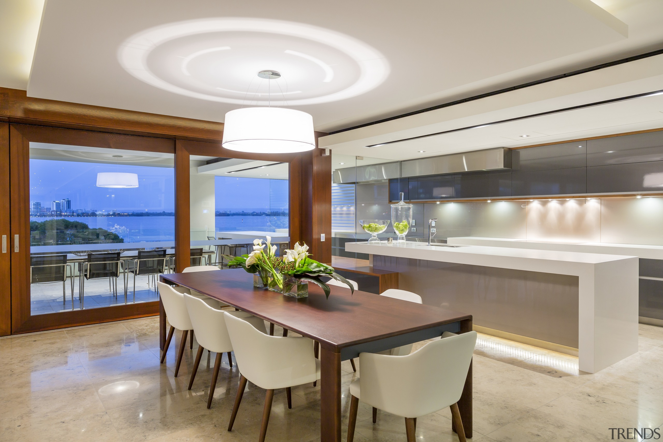 With connecting glass sliding walls, occupants of this ceiling, dining room, estate, interior design, kitchen, real estate, gray