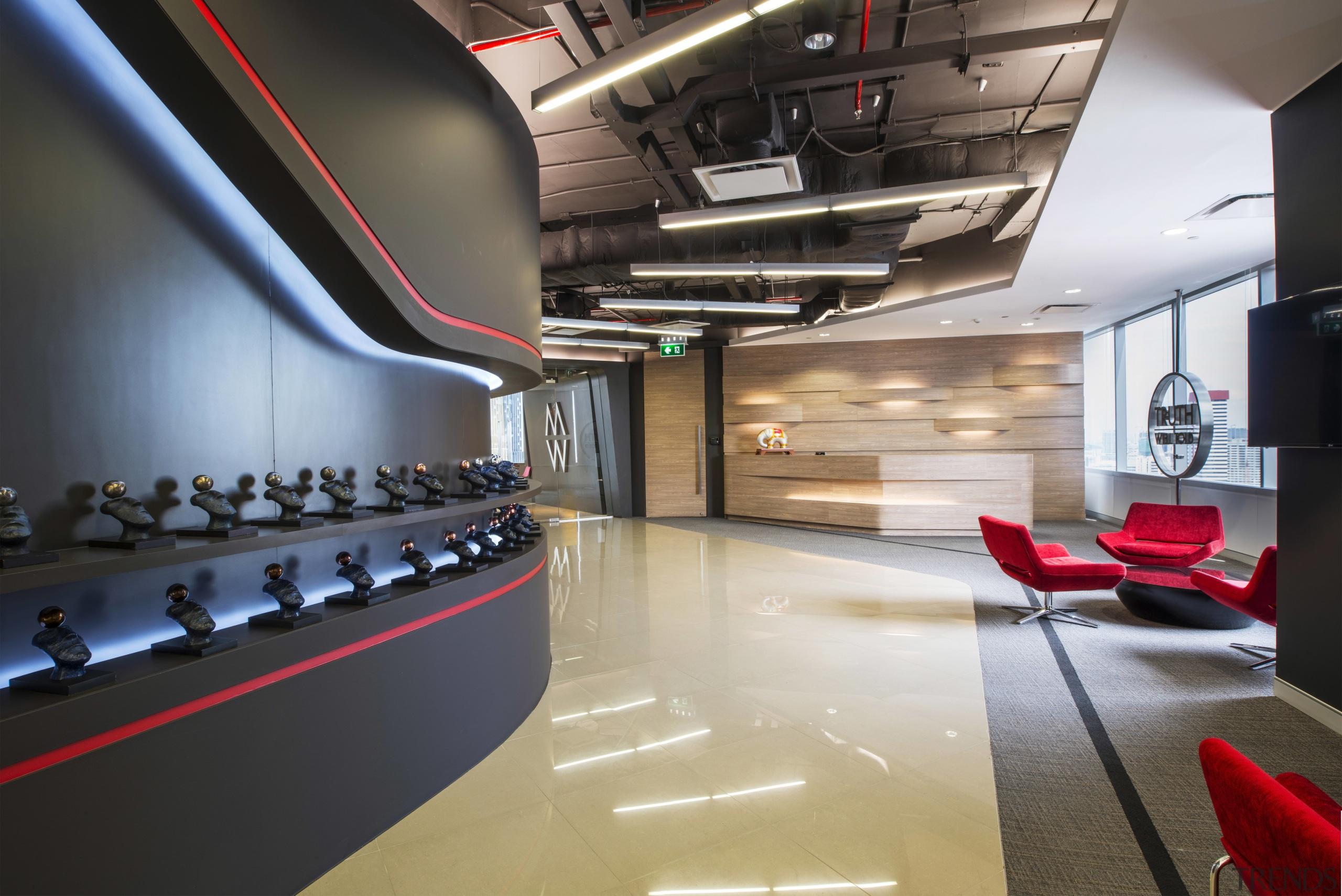 The reception area at McCann Worldgroups new Bangkok auditorium, ceiling, interior design, black