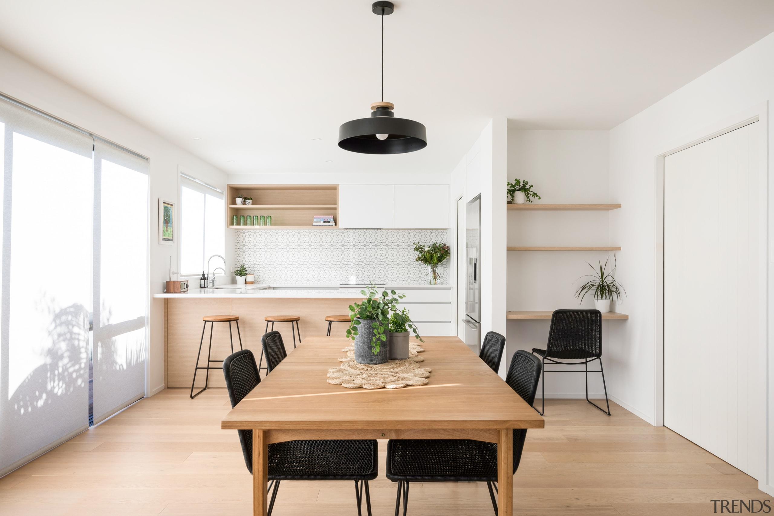Lightly coloured timber floors with minimal knots, feature dining room, furniture, interior design, room, table, white