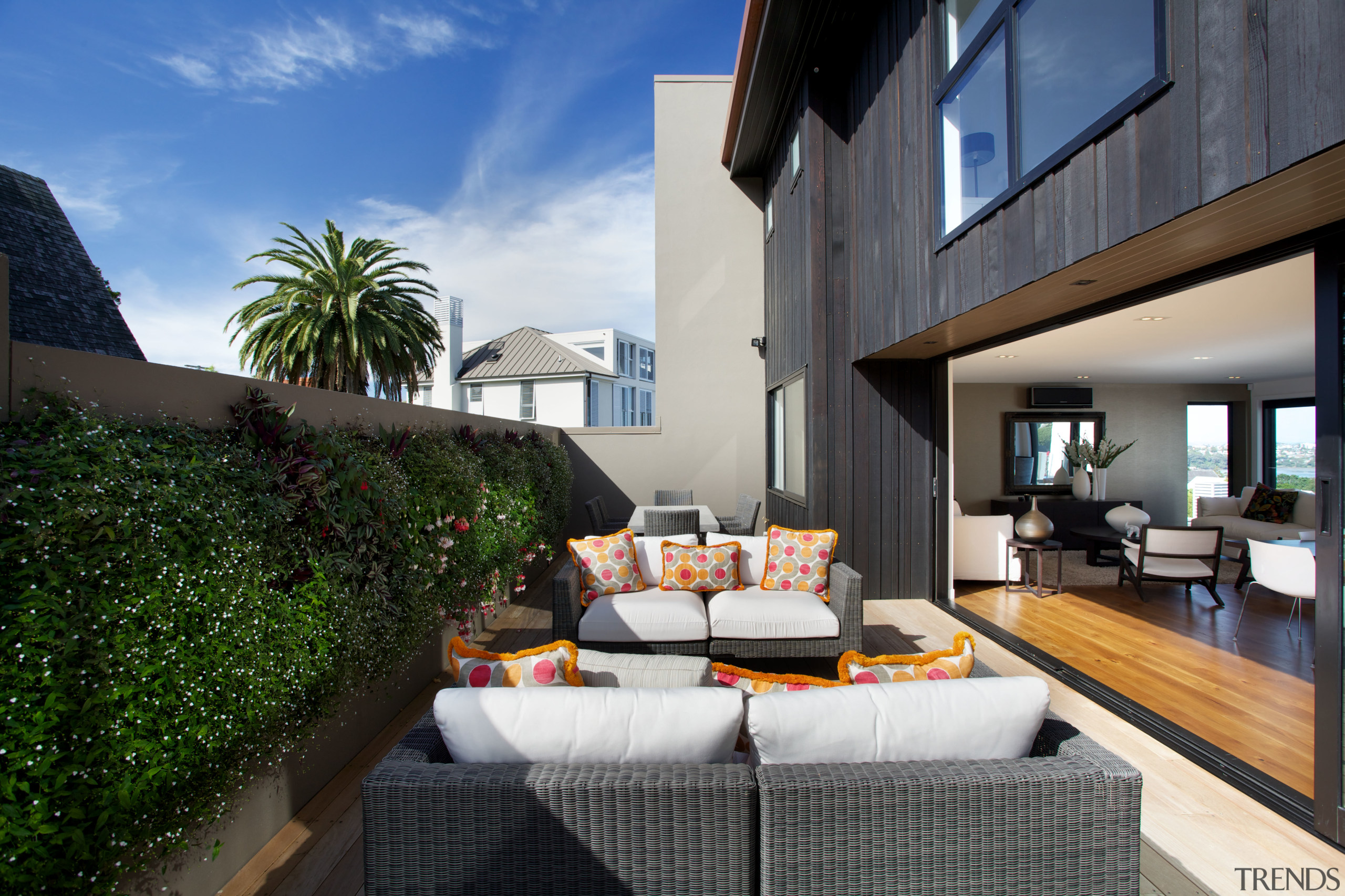 Indoor-outdoor living in this high-end townhouse designed by apartment, condominium, estate, home, house, interior design, penthouse apartment, property, real estate, resort, villa, black, gray