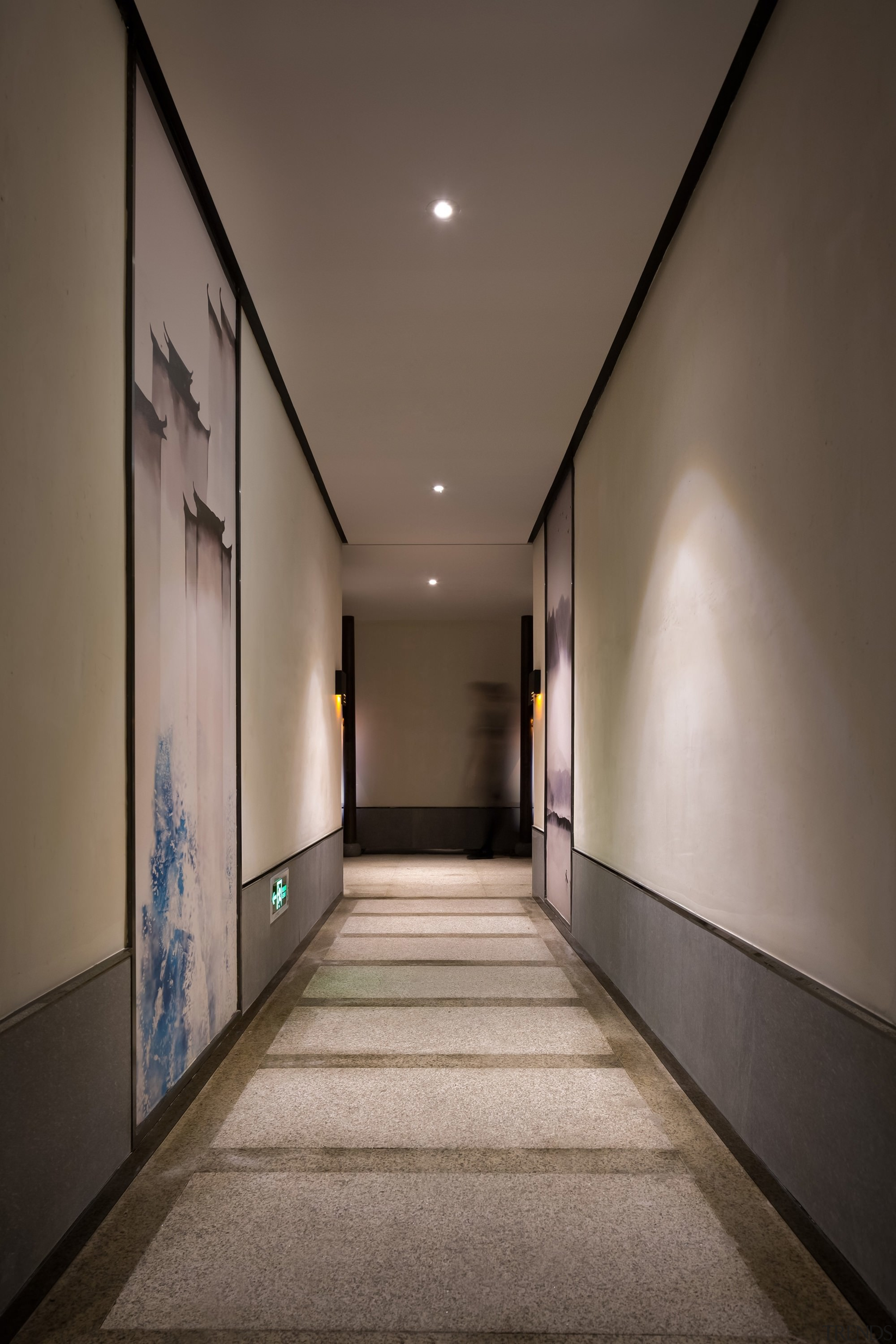 Floor to ceiling artwork lines the hallway - architecture, ceiling, daylighting, house, interior design, light, lighting, lobby, gray