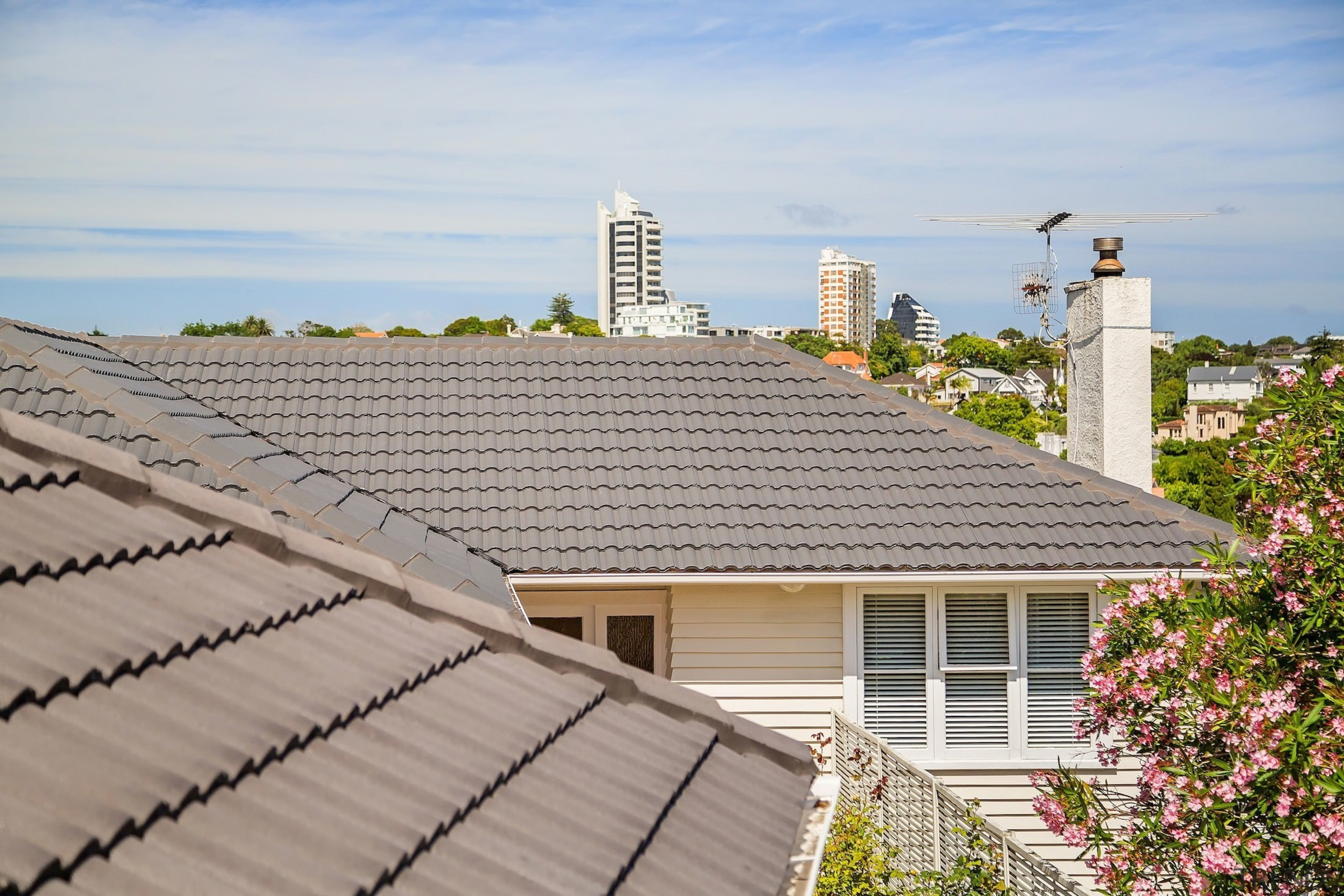 Visit the Monier Roofing website home, house, outdoor structure, property, real estate, residential area, roof, sky, gray