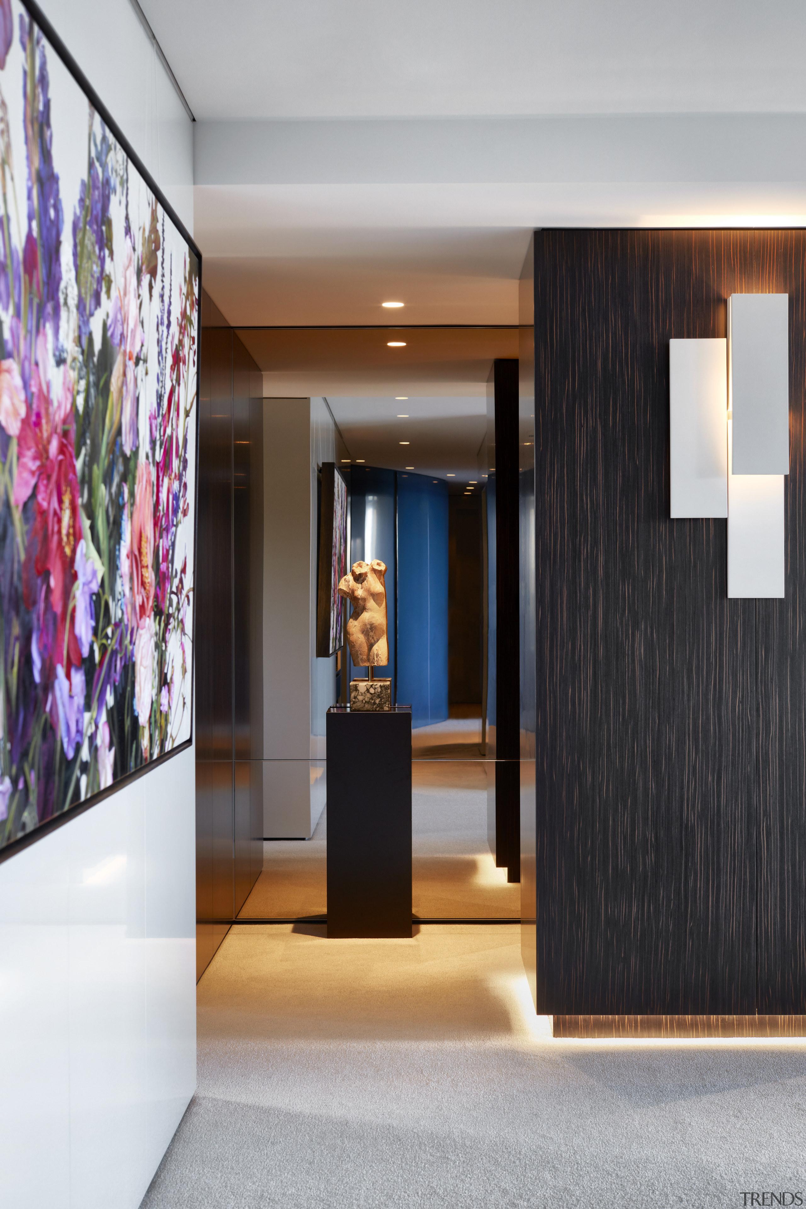 On this apartment makeover, immovable pillars are clad architecture, design, door, floor, flooring, furniture, hall, house, interior design, lighting, gray, black, Archer Design