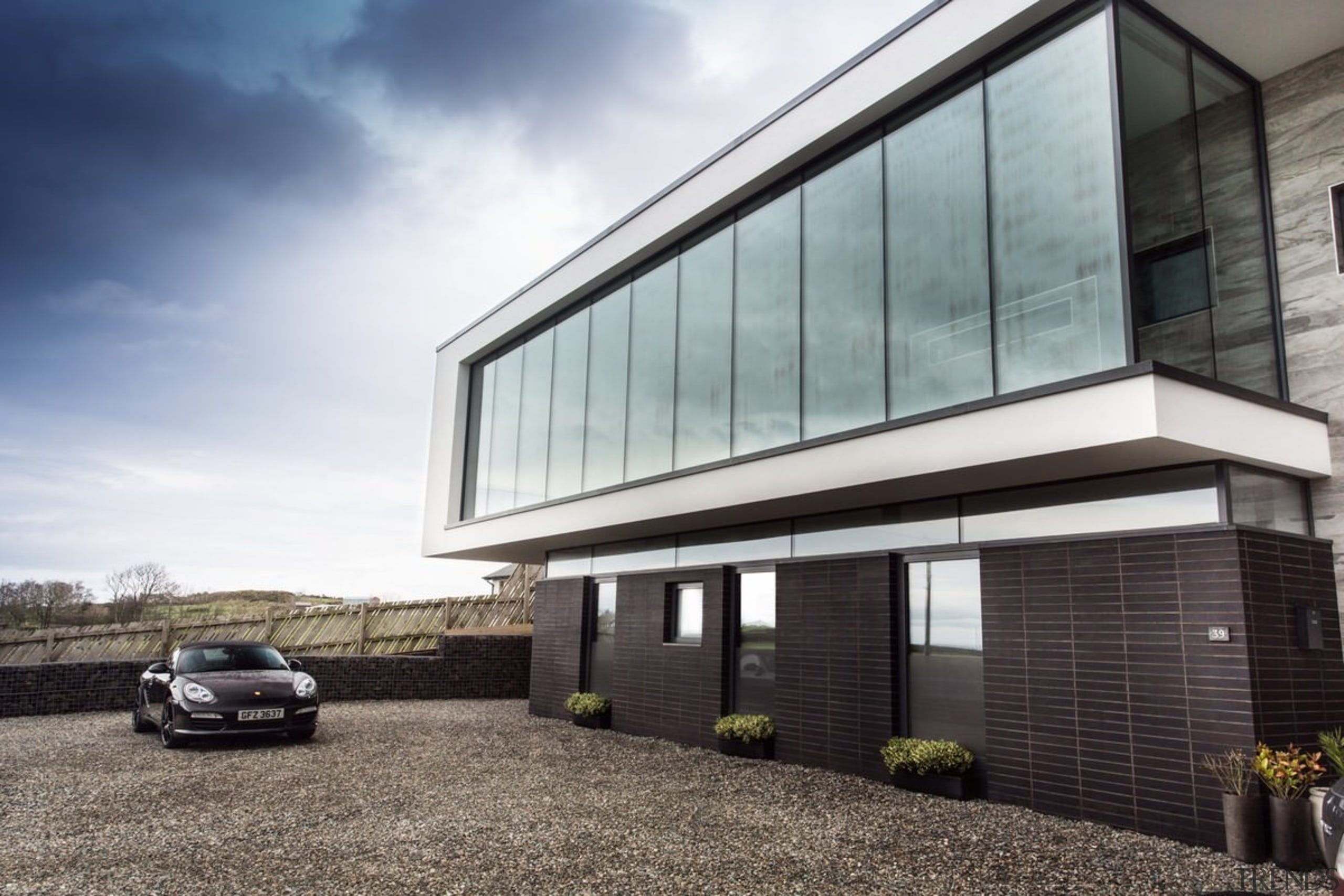 Architect: 2020 ArchitectsPhotography by Reinis Babrovskis architecture, building, corporate headquarters, facade, family car, home, house, luxury vehicle, property, real estate, siding, window, gray, white, black