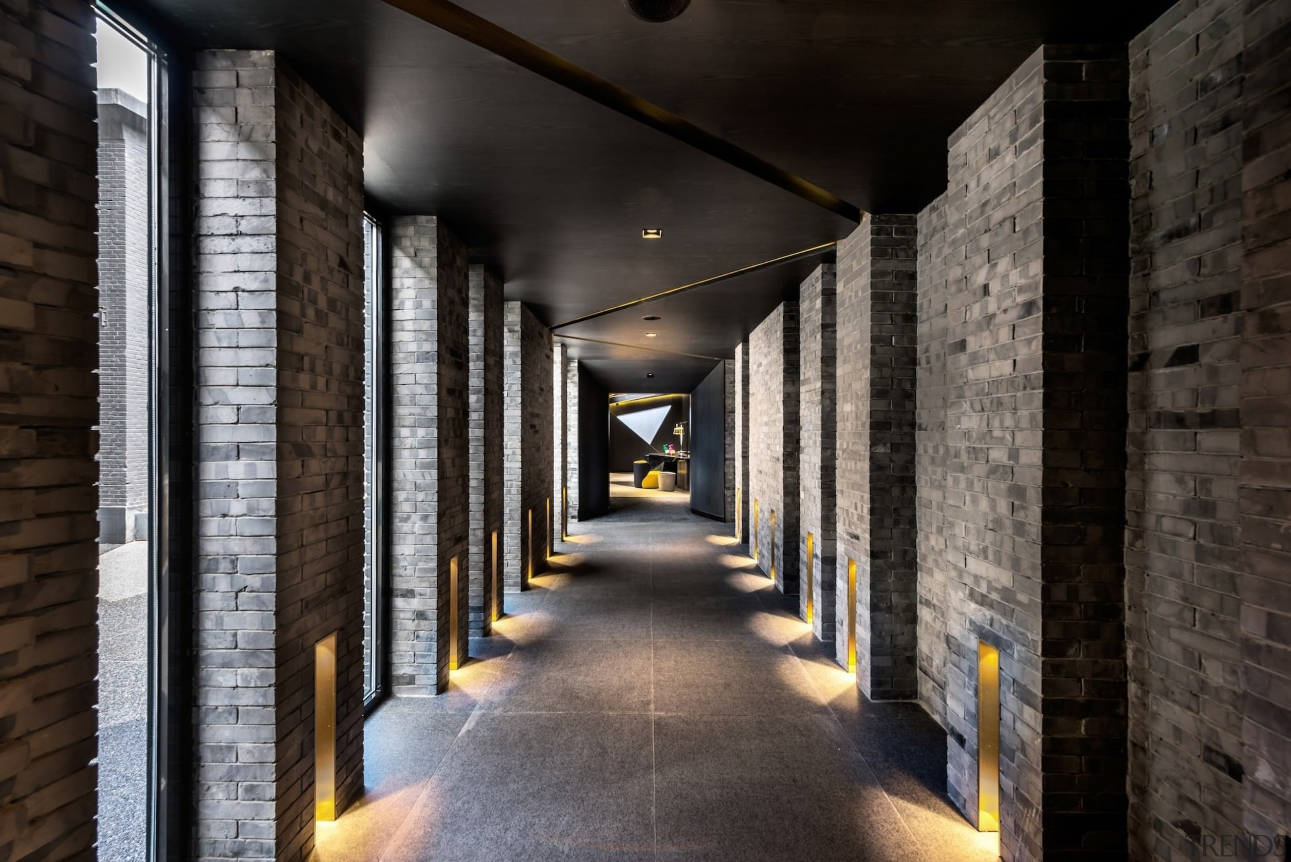 The spaces for lighting in this hallway look architecture, interior design, structure, wood, black, gray