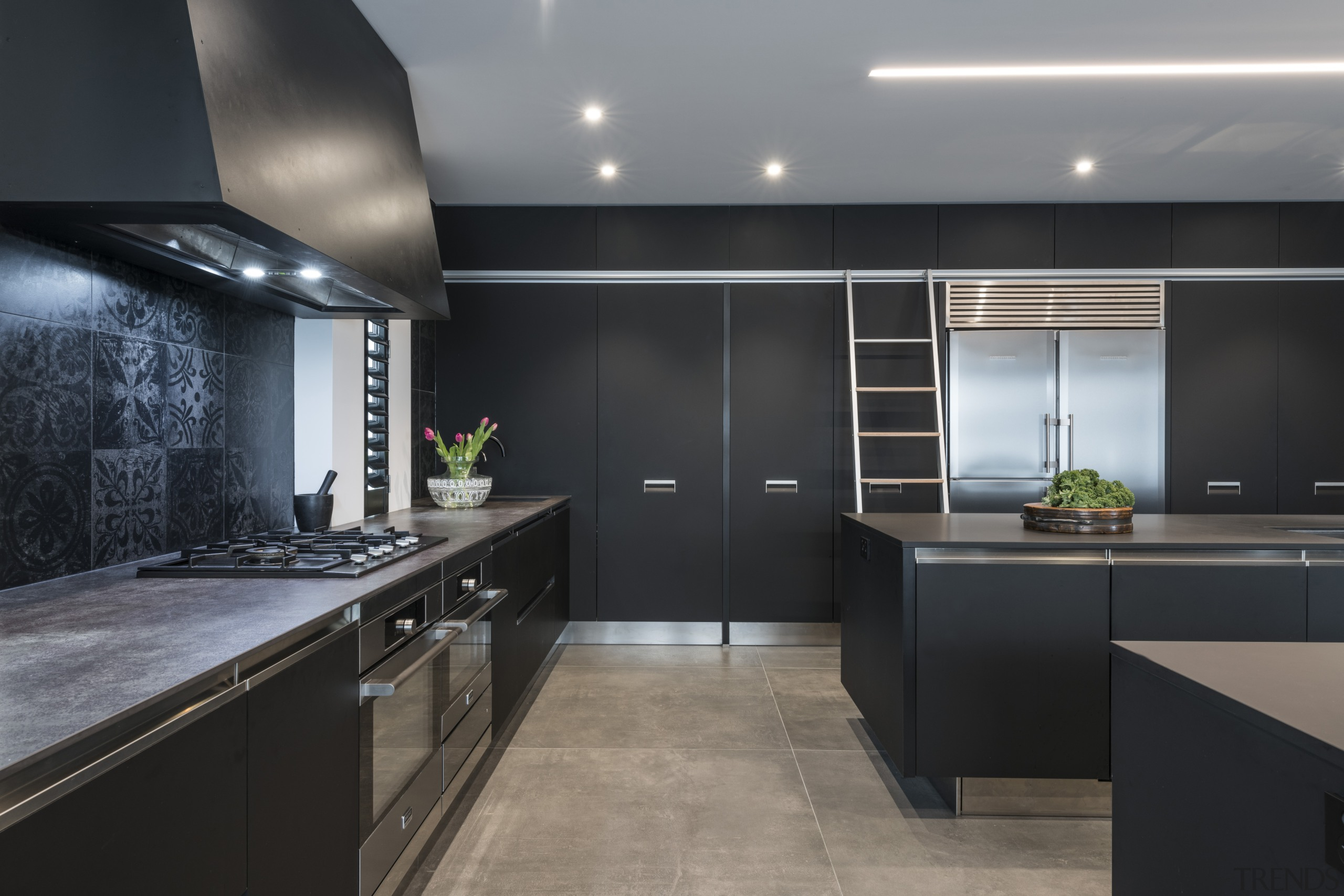 Highly Commended – Emma Morris – Eternodesign – architecture, building, cabinetry, ceiling, countertop, cupboard, design, floor, flooring, furniture, home, house, interior design, kitchen, kitchen stove, lighting, material property, property, real estate, room, tile, under-cabinet lighting, black, gray