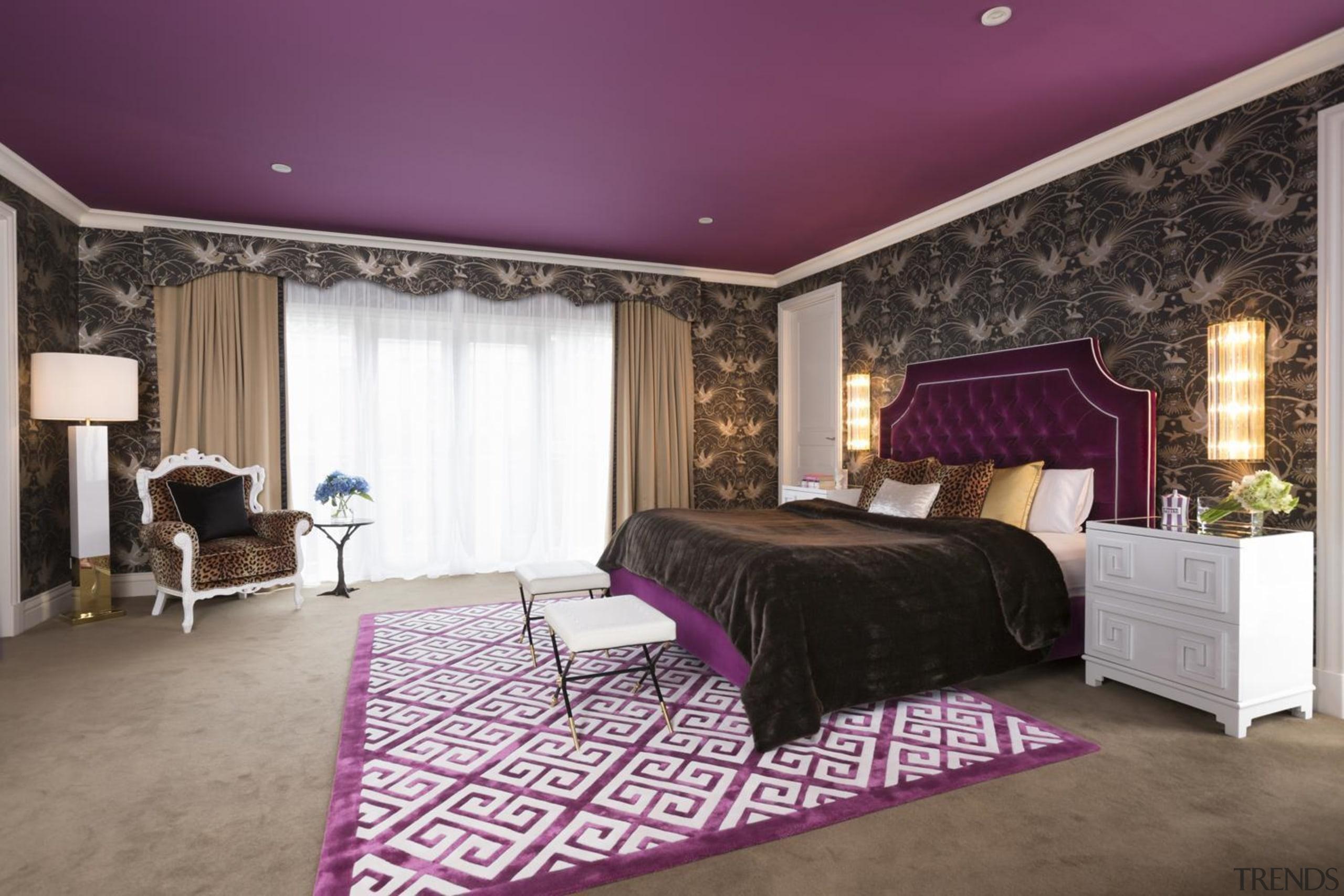 Master Bedroom - bed frame   bedroom   bed frame, bedroom, ceiling, floor, furniture, home, interior design, living room, property, purple, real estate, room, suite, wall, window treatment