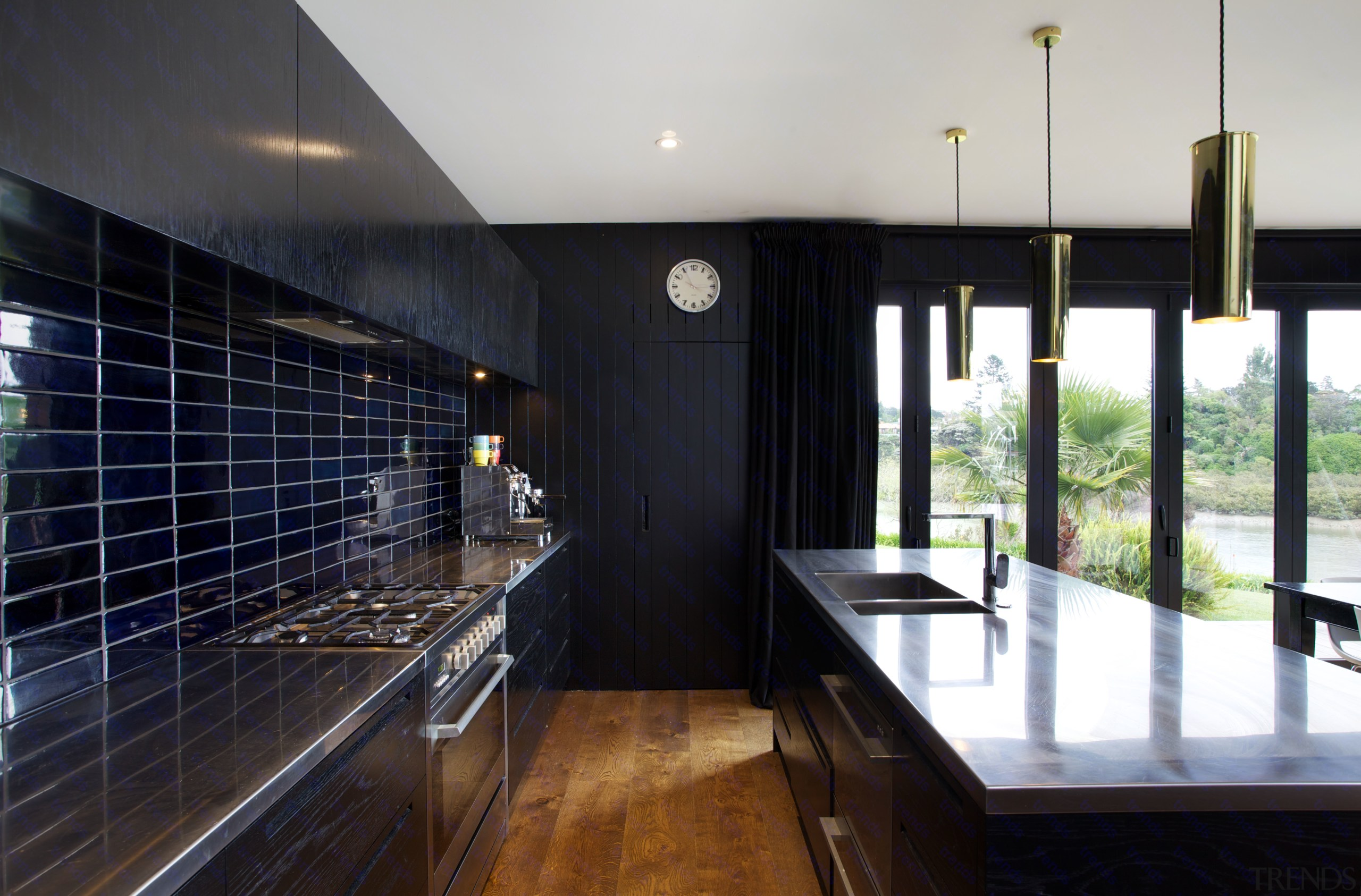 Hand-glazed tiles in varying shades of inky blue architecture, countertop, house, interior design, real estate, window, black