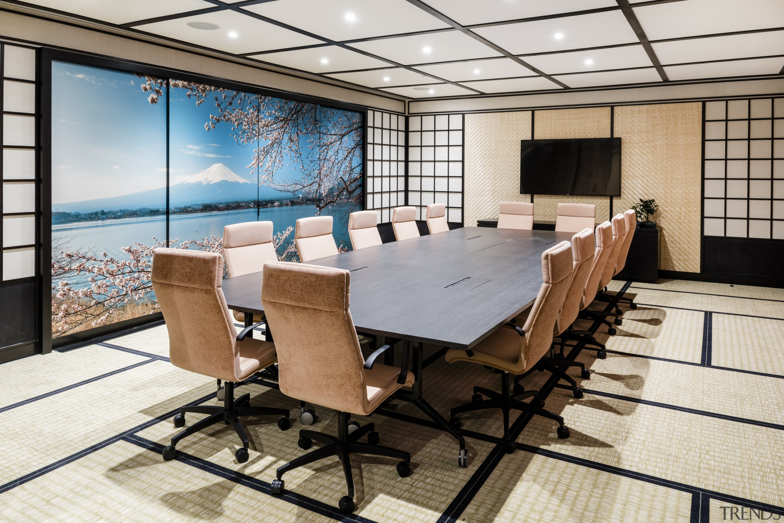 Traditional Japanese panelling and flooring set the scene conference hall, furniture, interior design, table, white