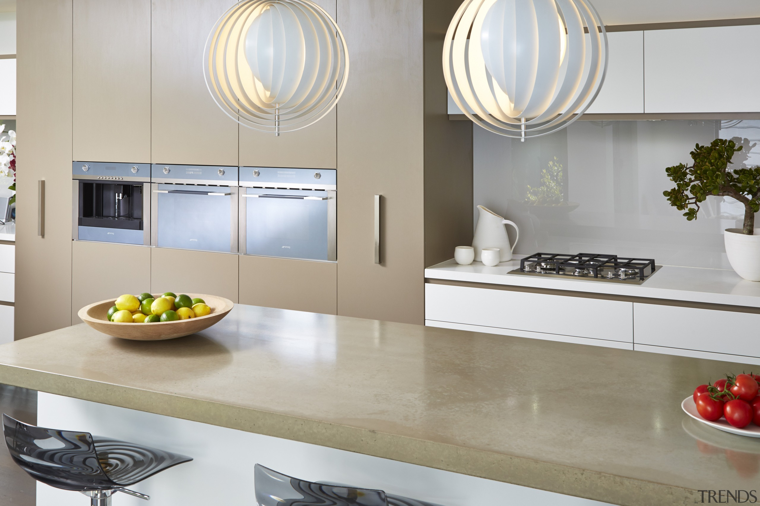 Cavanough also chose a Smeg induction cooktop for countertop, home appliance, interior design, kitchen, product design, gray, white