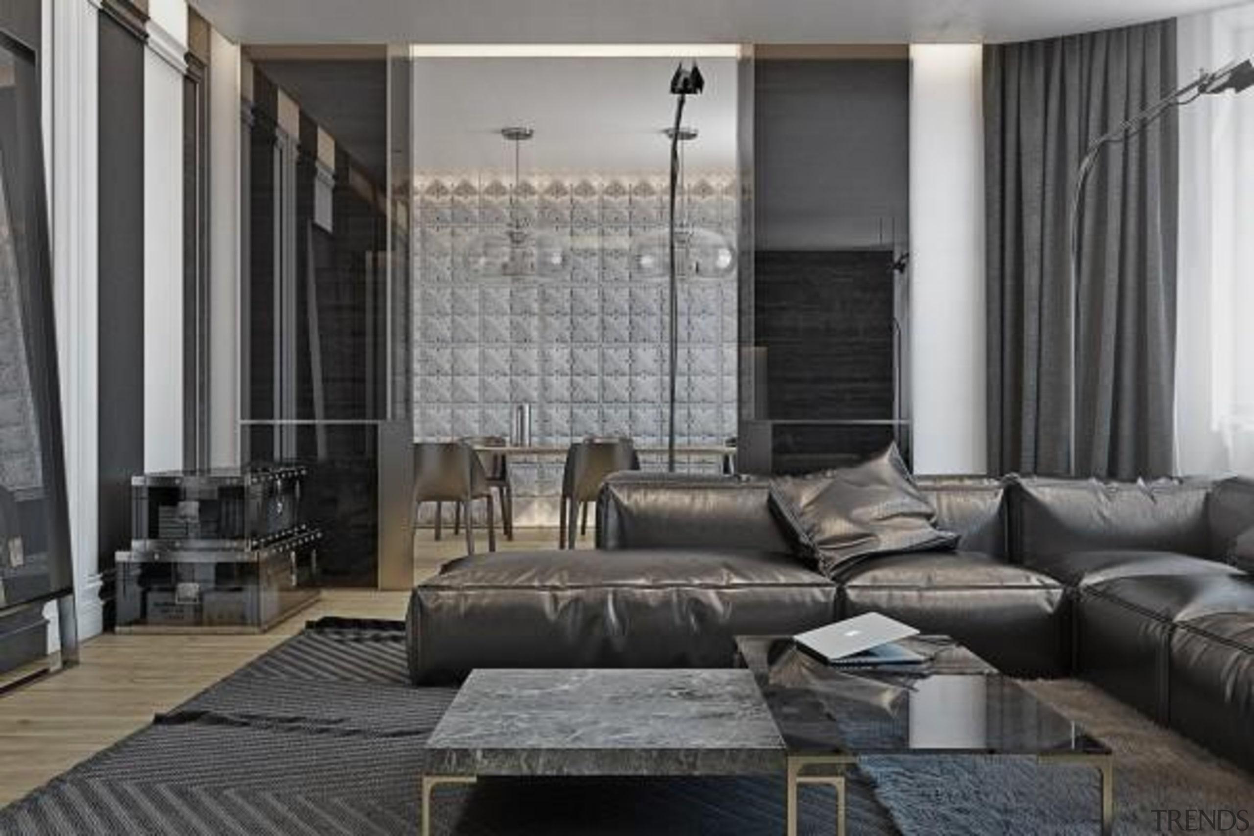 black leather sofa - Masculine Apartments - furniture furniture, interior design, living room, room, wall, window, window treatment, gray, black