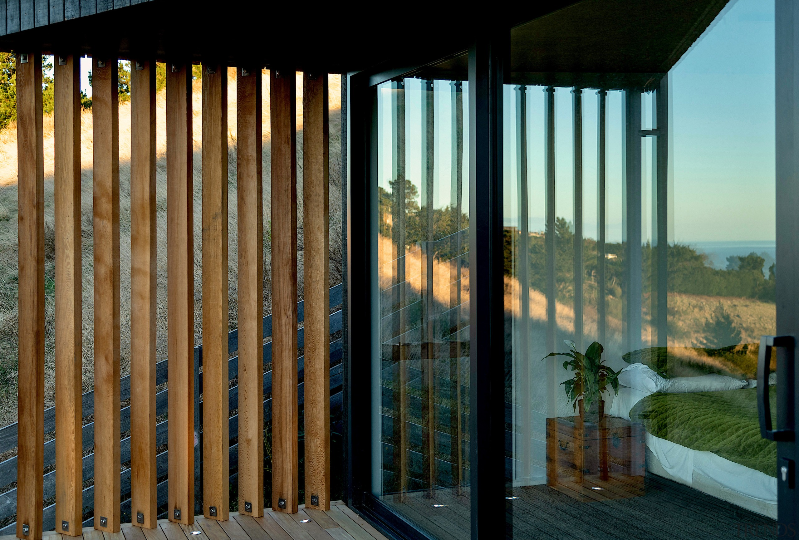 Wood screens provide strategic privacy and add to