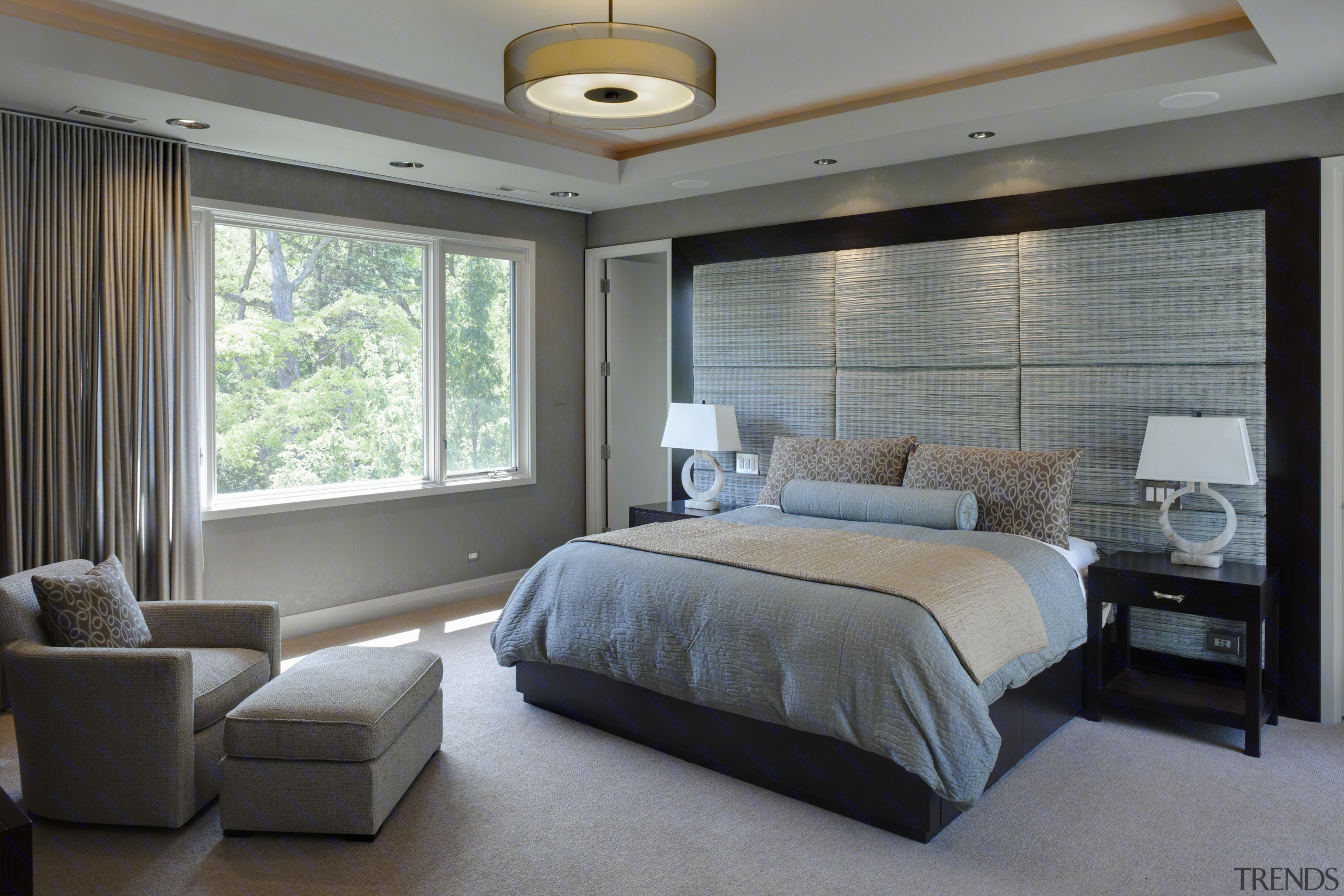 Greys and whites in linen and paints. large bed frame, bedroom, ceiling, home, interior design, real estate, room, wall, window, window covering, window treatment, gray