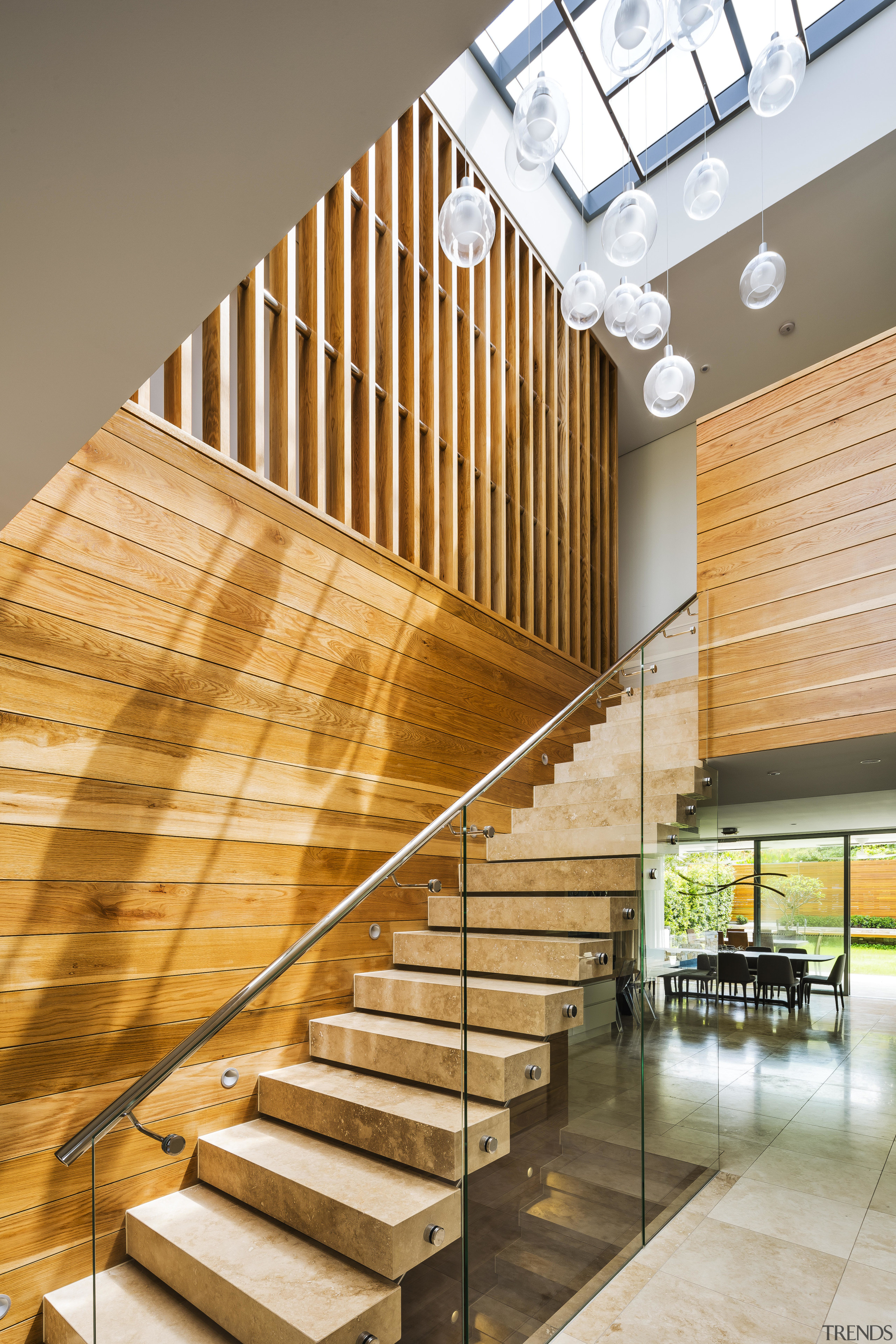 A timber front door provides an early touch architecture, handrail, home, interior design, stairs, wood, timber, Giles & Tribe,  Tida Awards