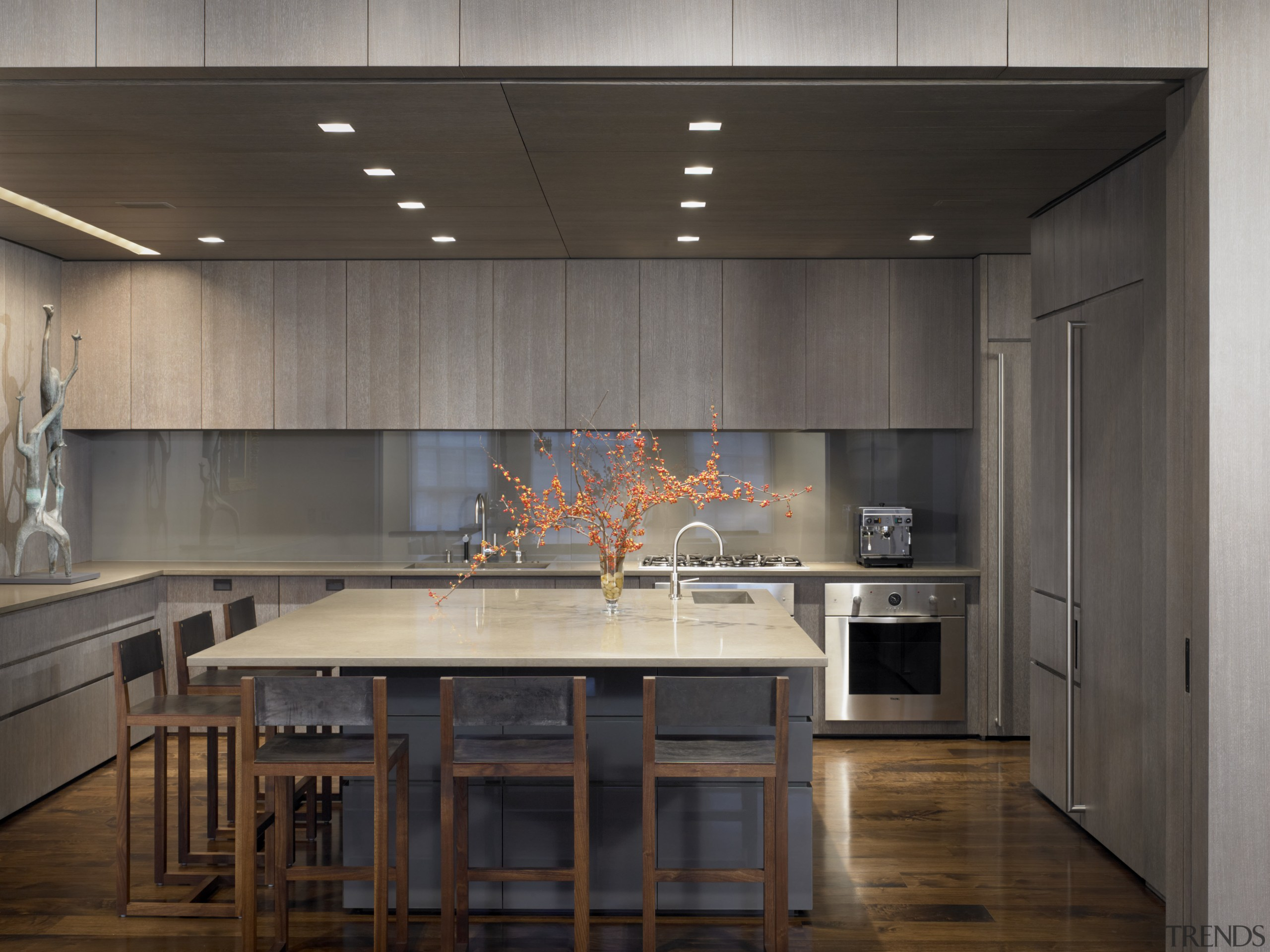 View of this contemporary apartment that has been architecture, cabinetry, ceiling, countertop, interior design, kitchen, gray, black