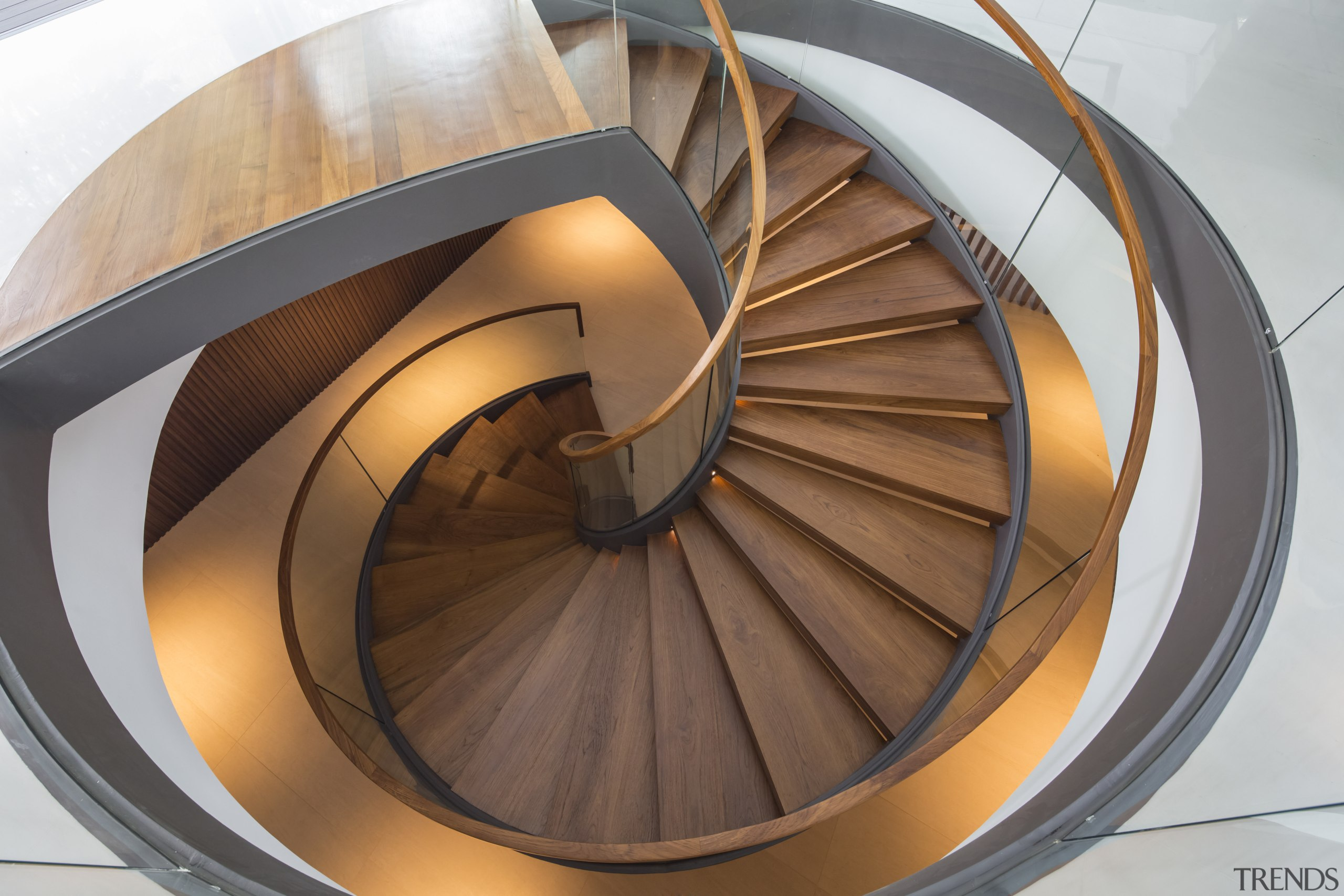 This helical staircase consists of two sandwiched steel product design, spiral, stairs, brown