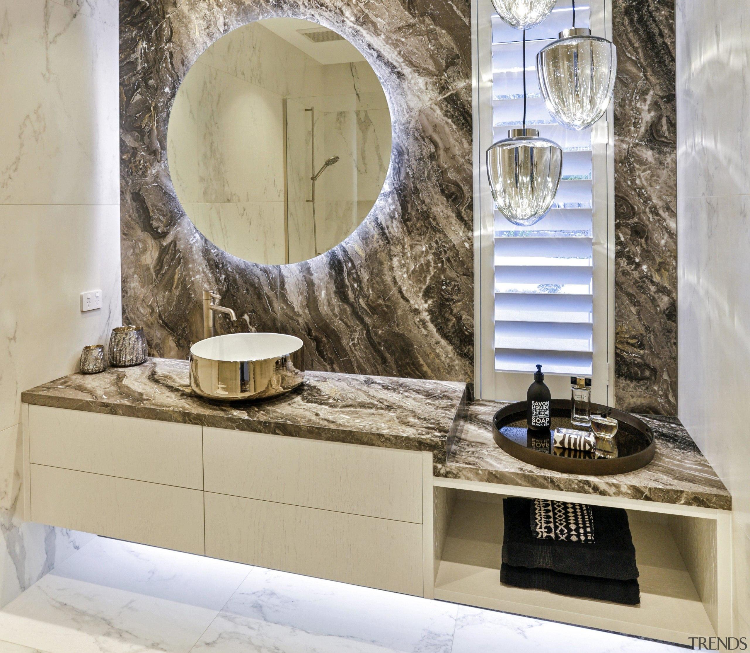 Dunlop Design – Runner-up –2019 TIDA New Zealand bathroom, bathroom accessory, bathroom cabinet, beige, ceramic, floor, flooring, furniture, interior design, marble, mirror, property, room, sink, tile, wall, wallpaper, gray
