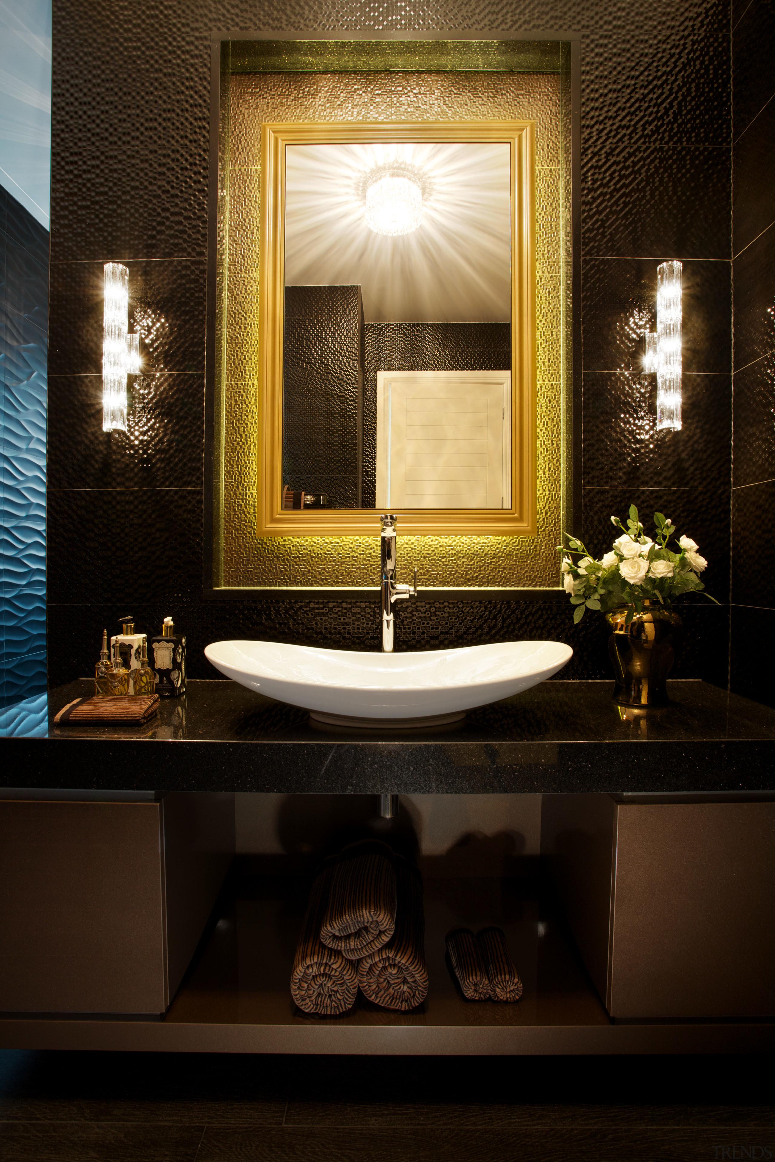 Powder room by architect Henry Lin with gilt-framed bathroom, ceiling, home, interior design, lighting, room, window, brown, black