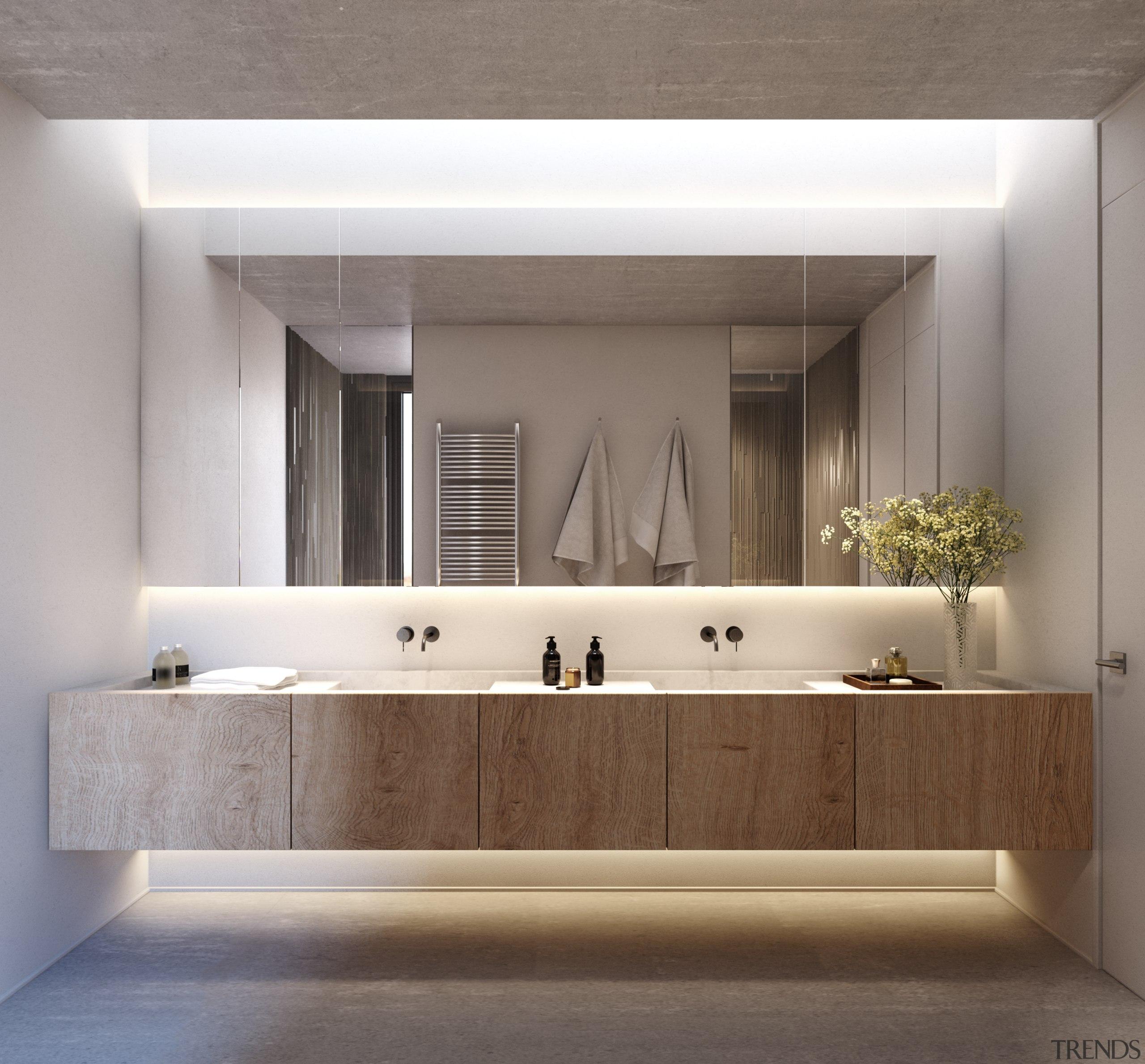 Island life – Bathroom - architecture | bathroom architecture, bathroom, bathroom accessory, bathroom cabinet, floor, interior design, sink, tap, wall, gray