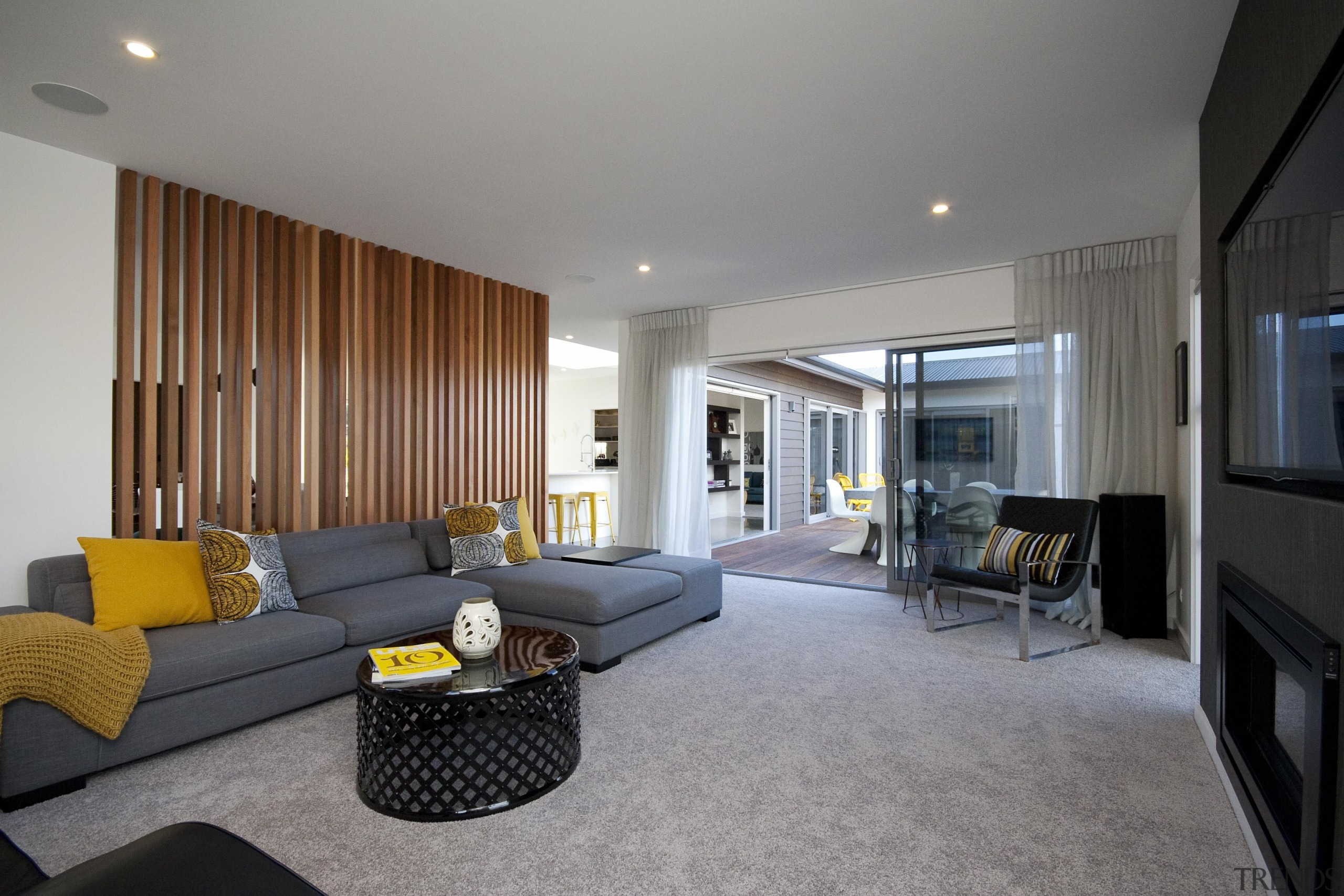 Living room with 1960's flavour featuring hit and apartment, architecture, ceiling, house, interior design, living room, property, real estate, room, suite, gray
