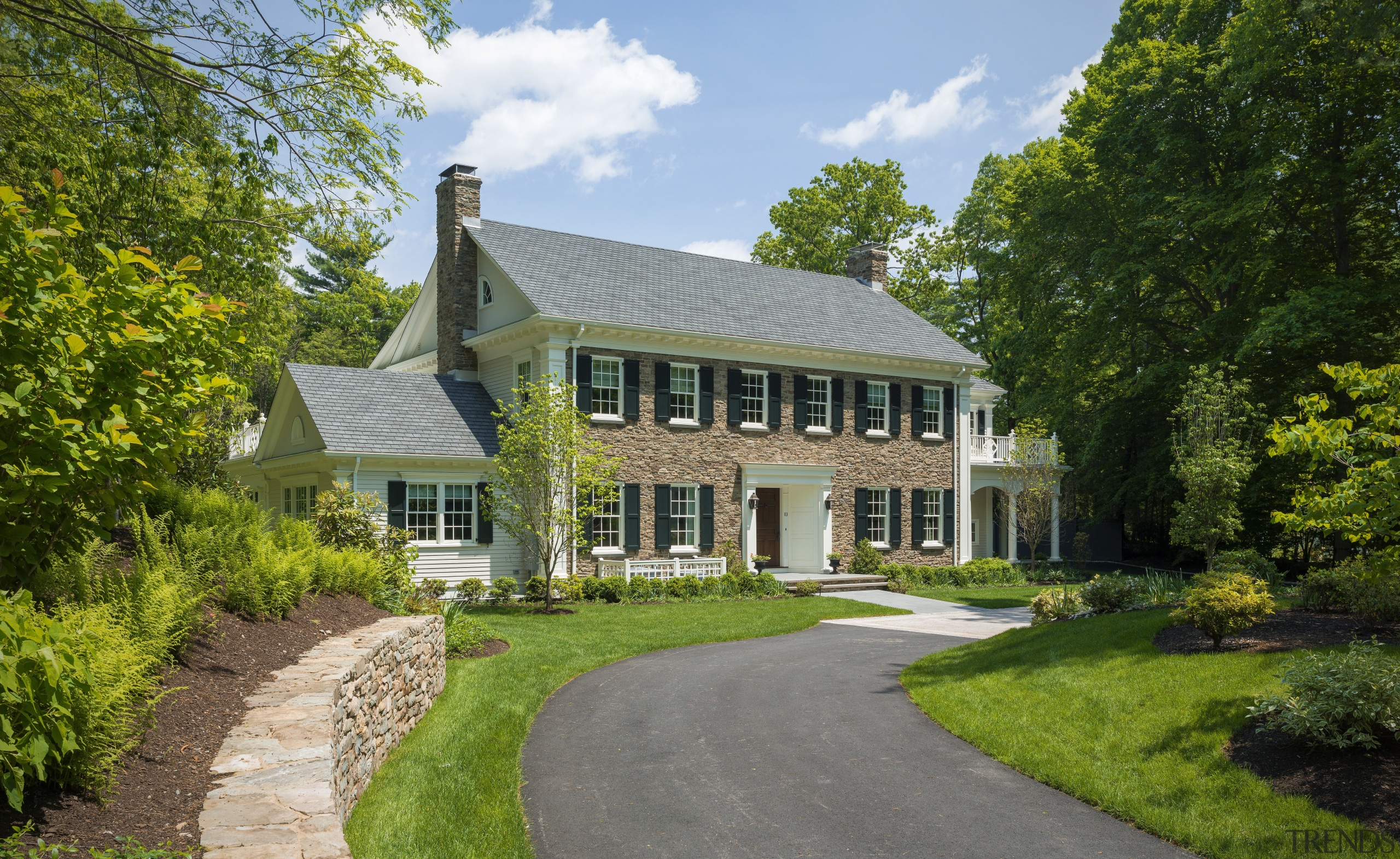 Curb appeal is assured with this New England cottage, estate, farmhouse, grass, home, house, manor house, mansion, national trust for places of historic interest or natural beauty, plantation, property, real estate, tree, brown