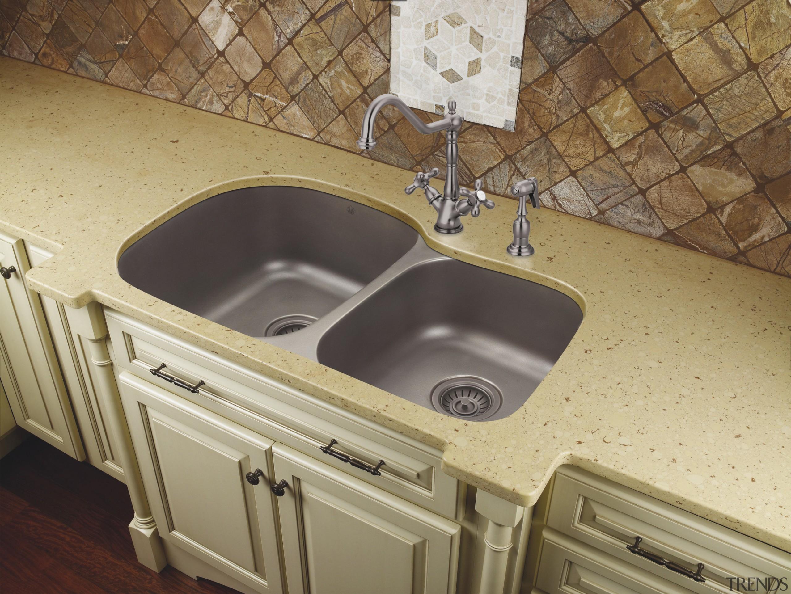 View of undermounted double sinks by Artisan Manufacturing bathroom, bathroom sink, countertop, plumbing fixture, sink, tile, brown, orange