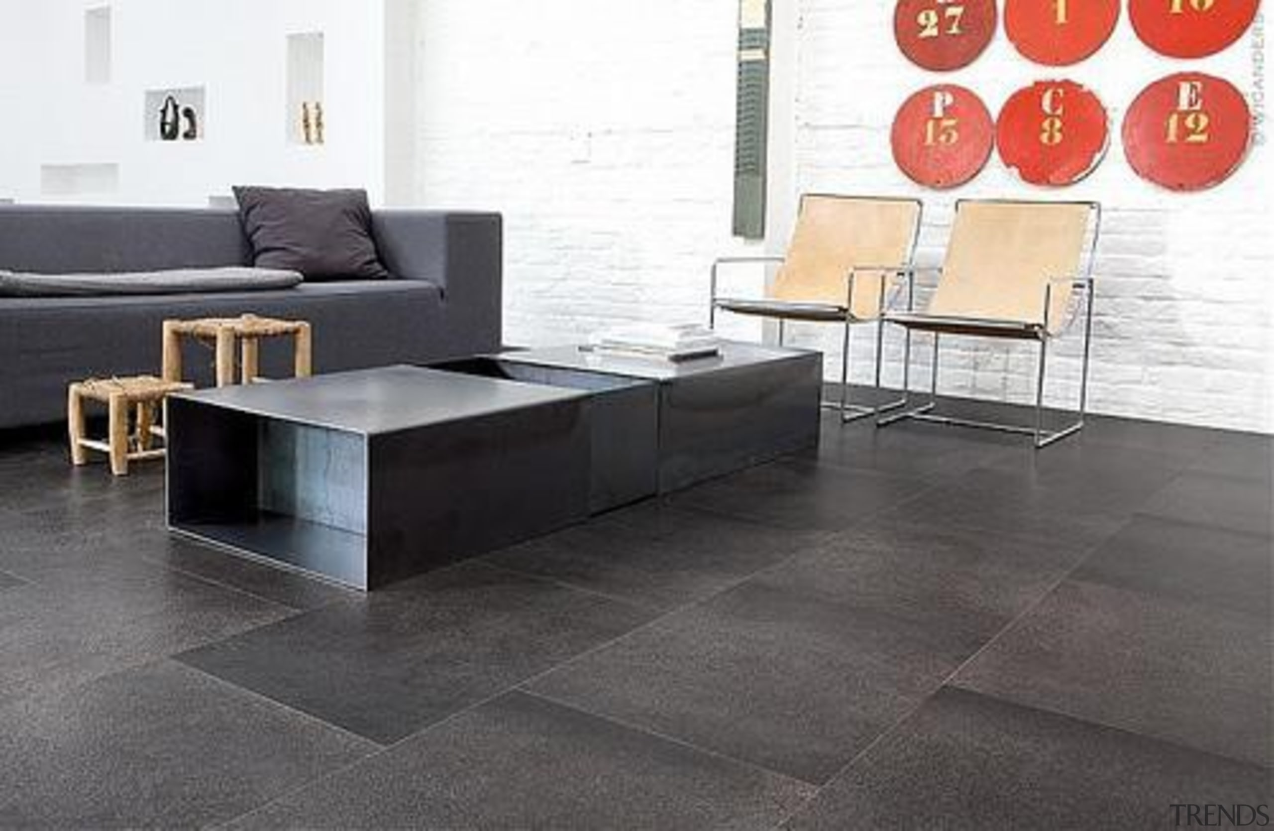 Cork Comfort - Slate Eclipse - Cork Comfort angle, coffee table, floor, flooring, furniture, hardwood, interior design, laminate flooring, living room, product design, table, tile, wall, wood flooring, gray, white, black