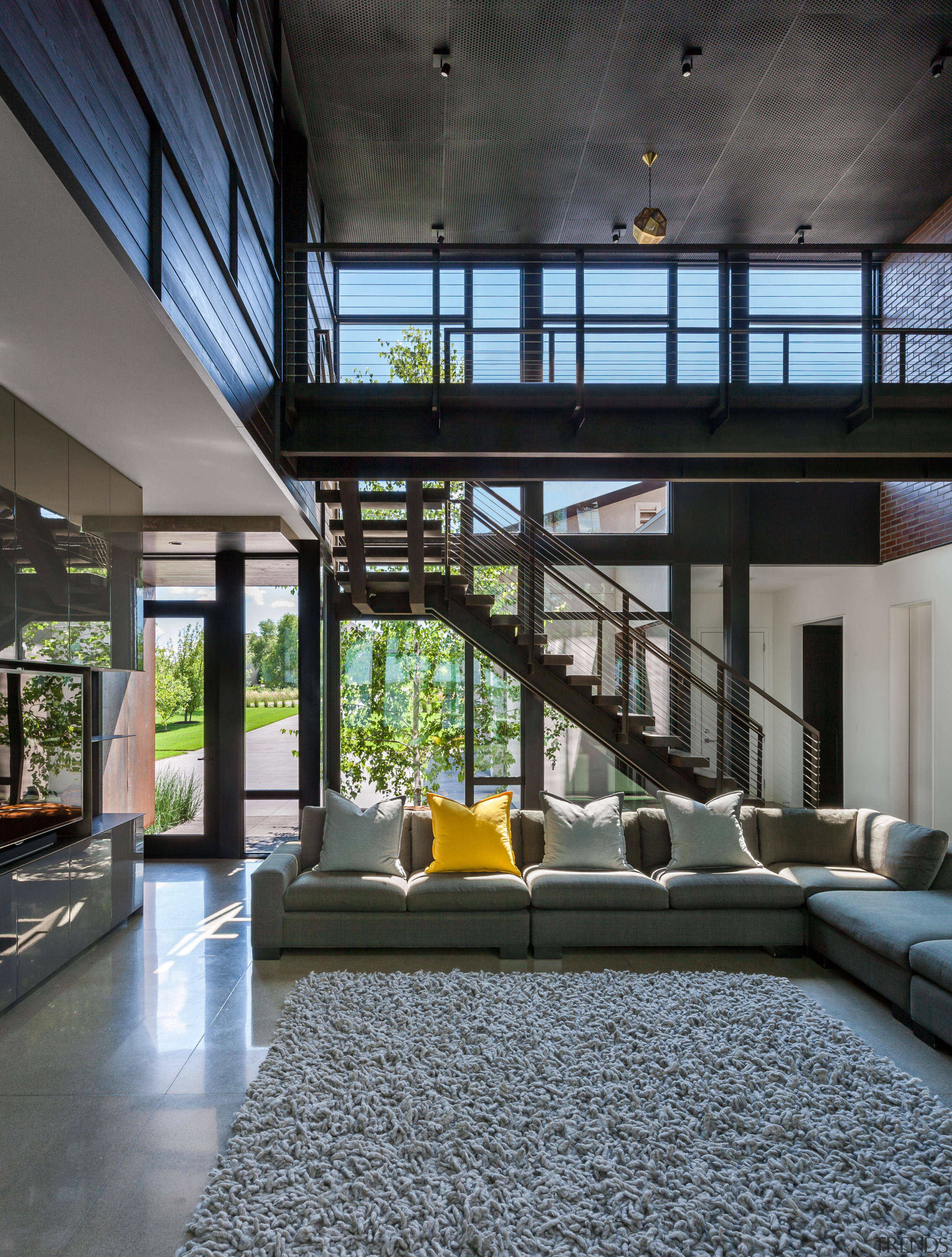 The living area in this family home is home, house, interior design, living room, furniture, light, industrial, Altus Architecture