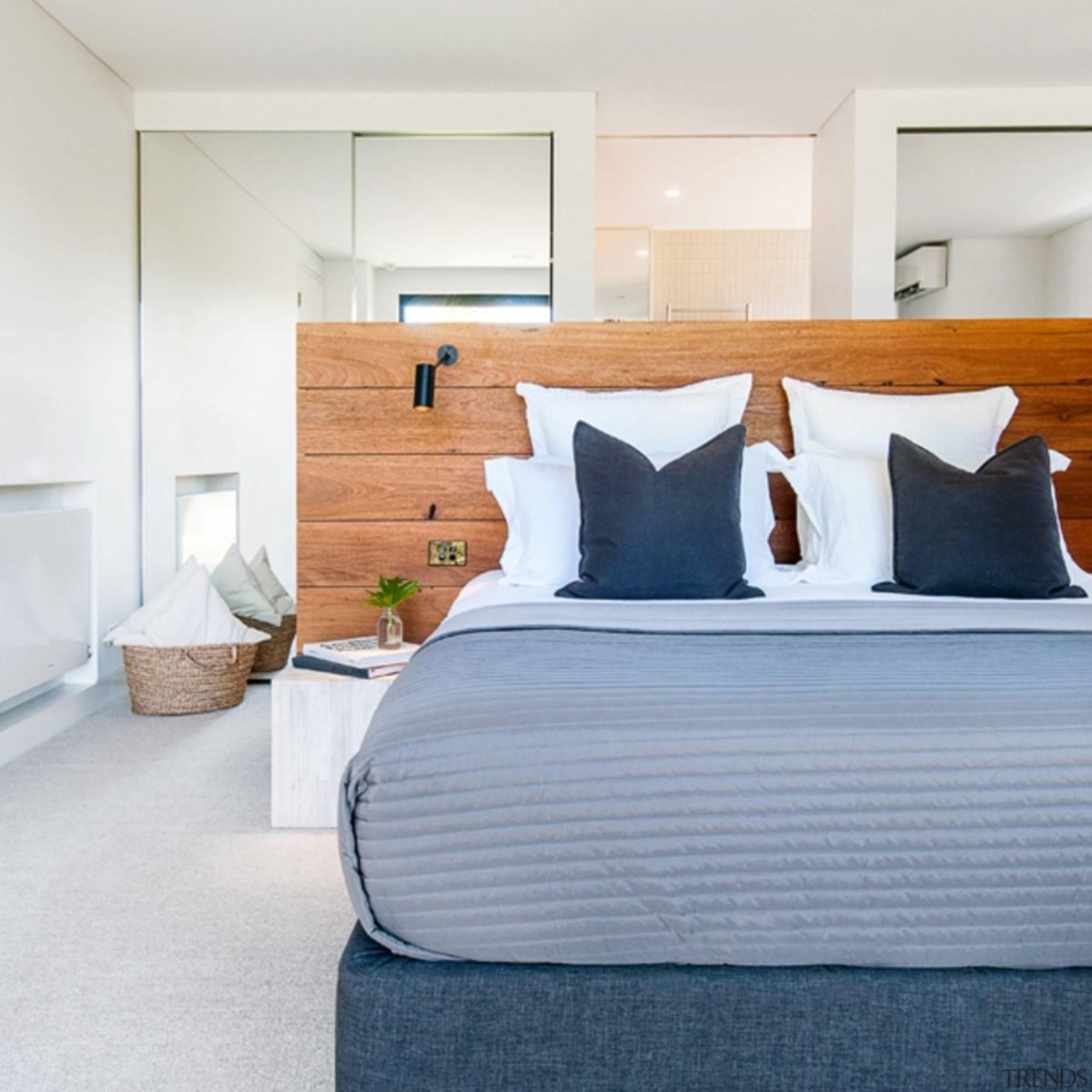 Architect: Alexandra Buchanan ArchitecturePhotography by Debra McFadzean bed, bed frame, bed sheet, bedroom, floor, home, interior design, mattress, room, suite, wall, white, gray