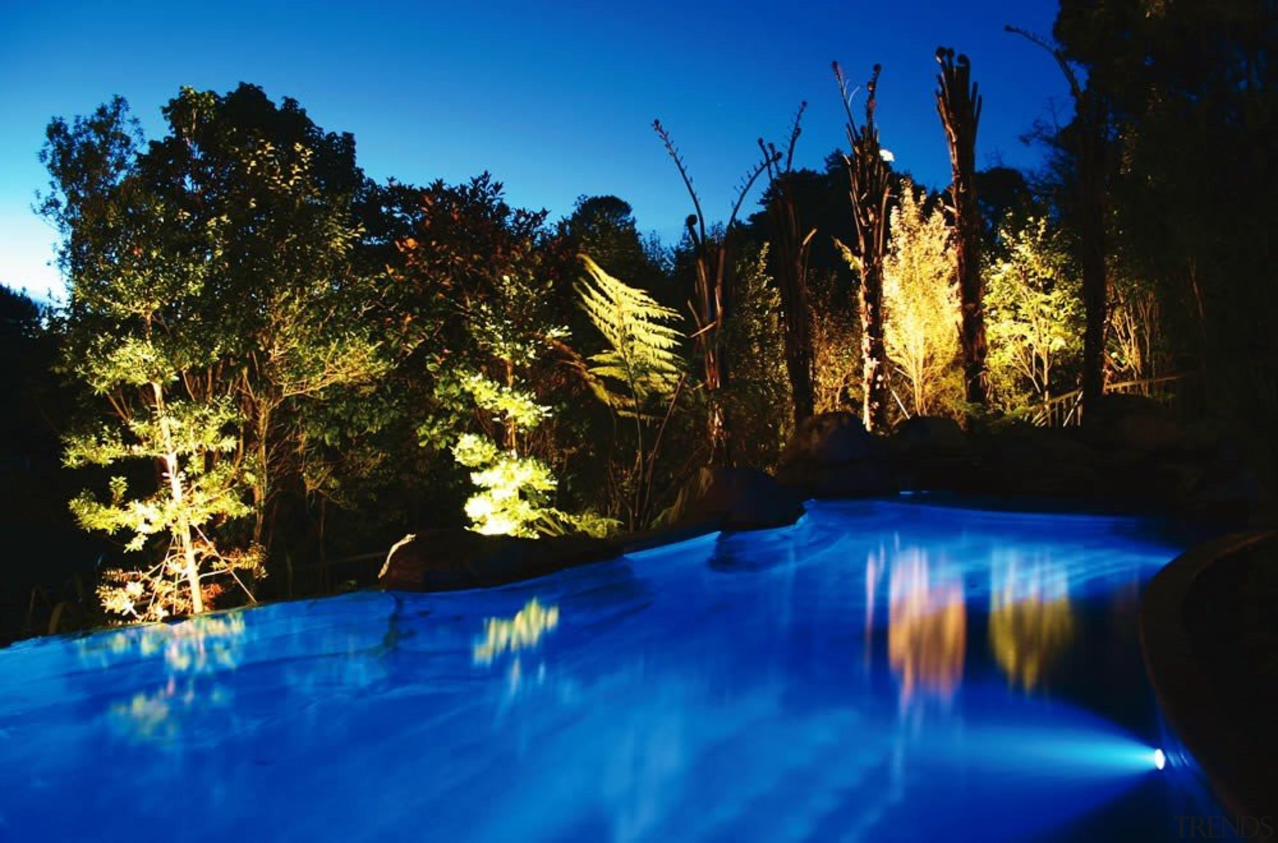 Residential - Residential - blue | body of blue, body of water, evening, lake, landscape, landscape lighting, light, lighting, nature, reflection, river, sky, swimming pool, tree, water, water feature, blue, black