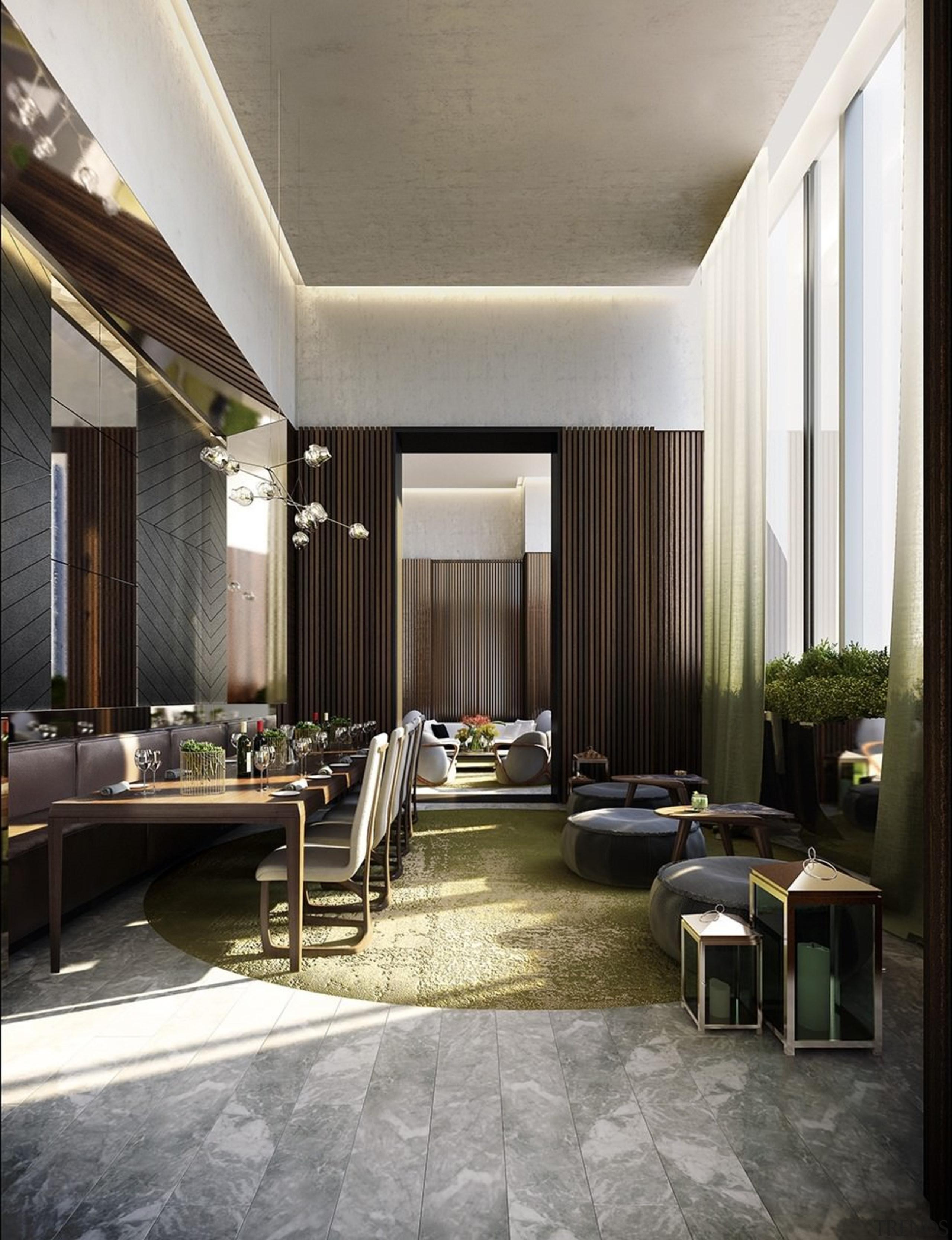 Recessed lighting keeps this ceiling clean - Recessed ceiling, floor, flooring, interior design, living room, lobby, black, gray, white