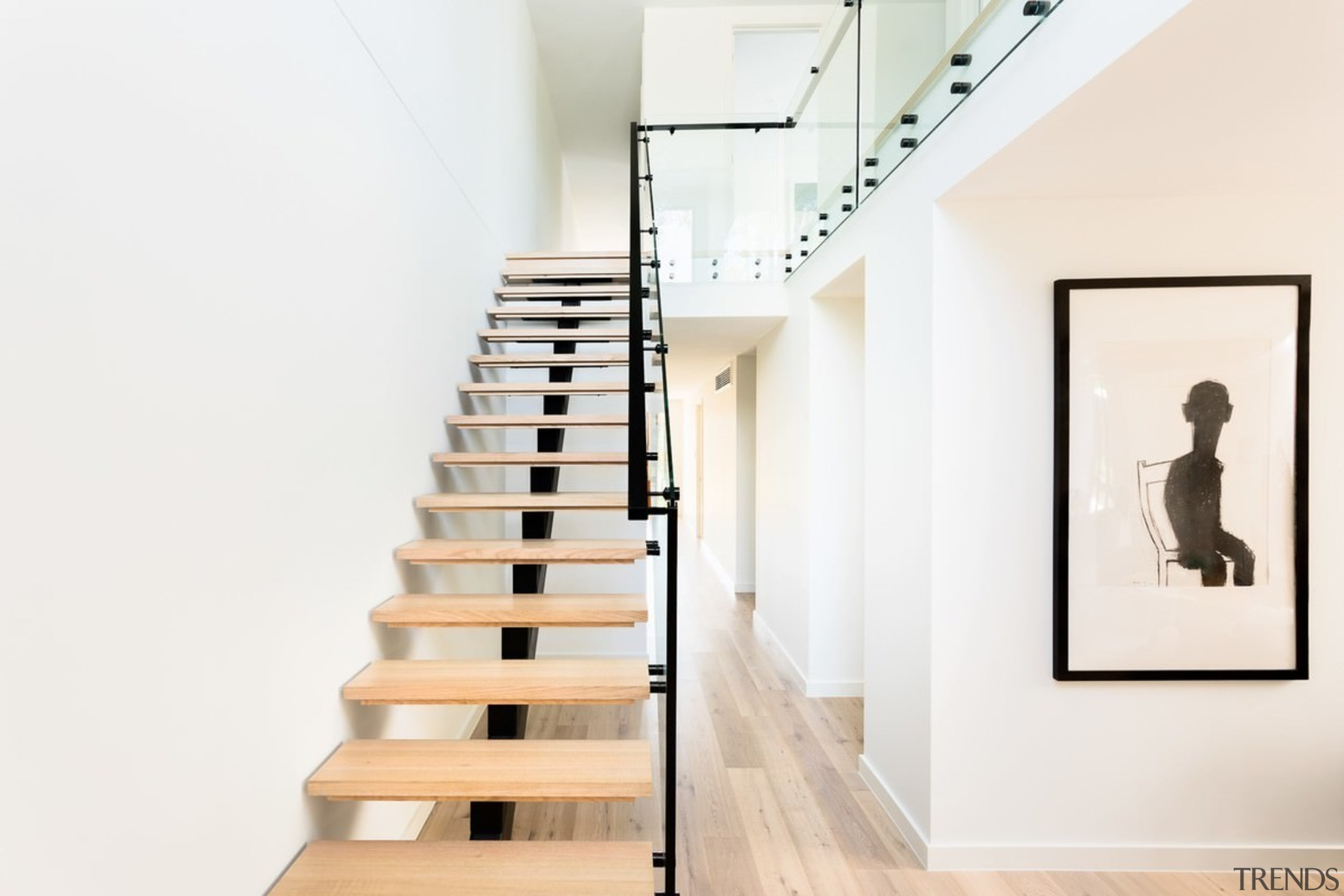 Glass balustrades serve to showcase the staircase - exhibition, handrail, interior design, product design, stairs, white