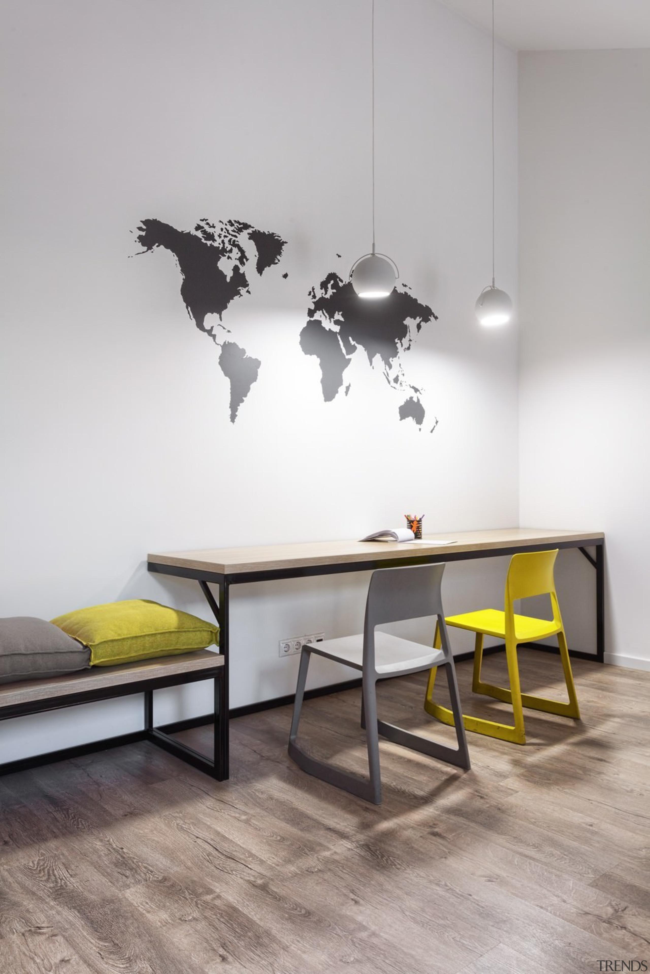 Architect: Martin ArchitectsPhotography by Alexander Kondrianenko floor, flooring, furniture, interior design, product design, table, wall, gray
