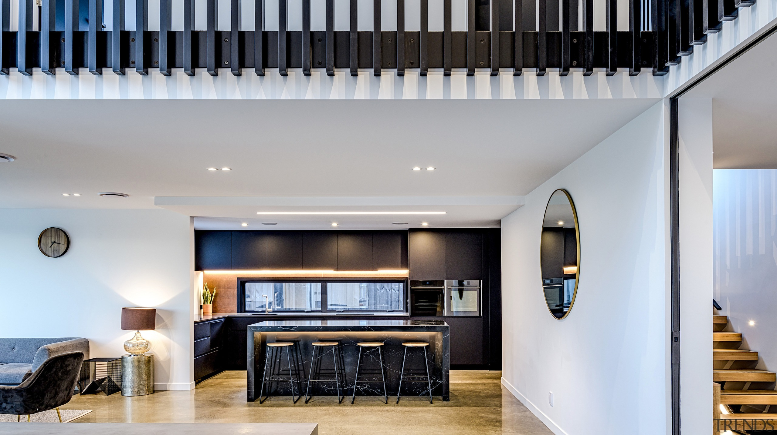 This kitchen had to achieve balance with a architecture, building, ceiling, floor, flooring, furniture, home, house, interior design, living room, loft, property, real estate, room, technology, wood, wood flooring, gray